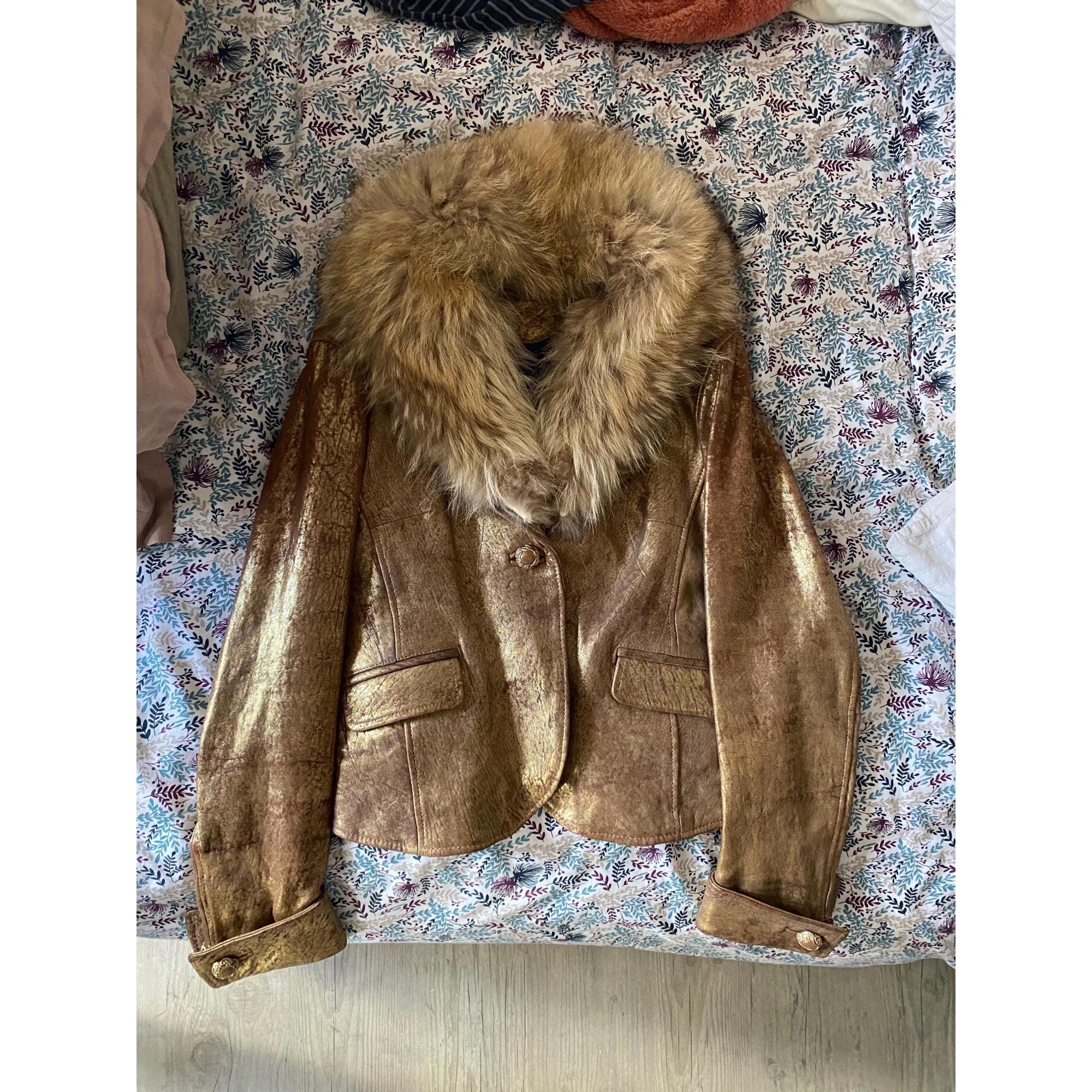 Veste en cuir ANNA BIAGINI Doré, bronze, cuivre