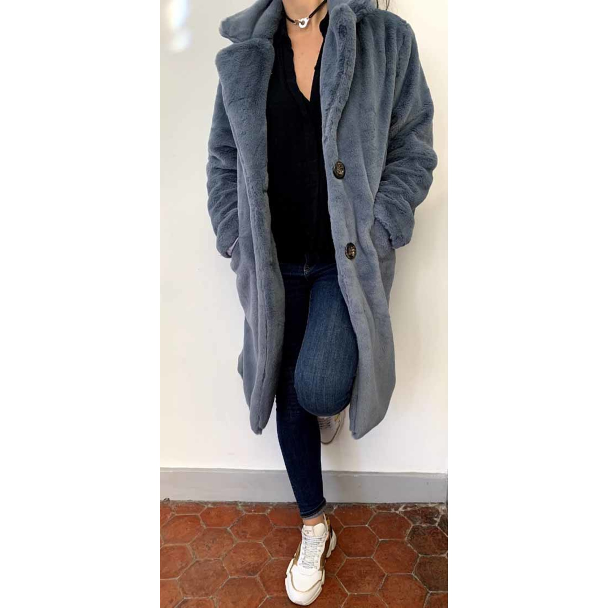 Manteau en fourrure ALEX MAX Bleu, bleu marine, bleu turquoise