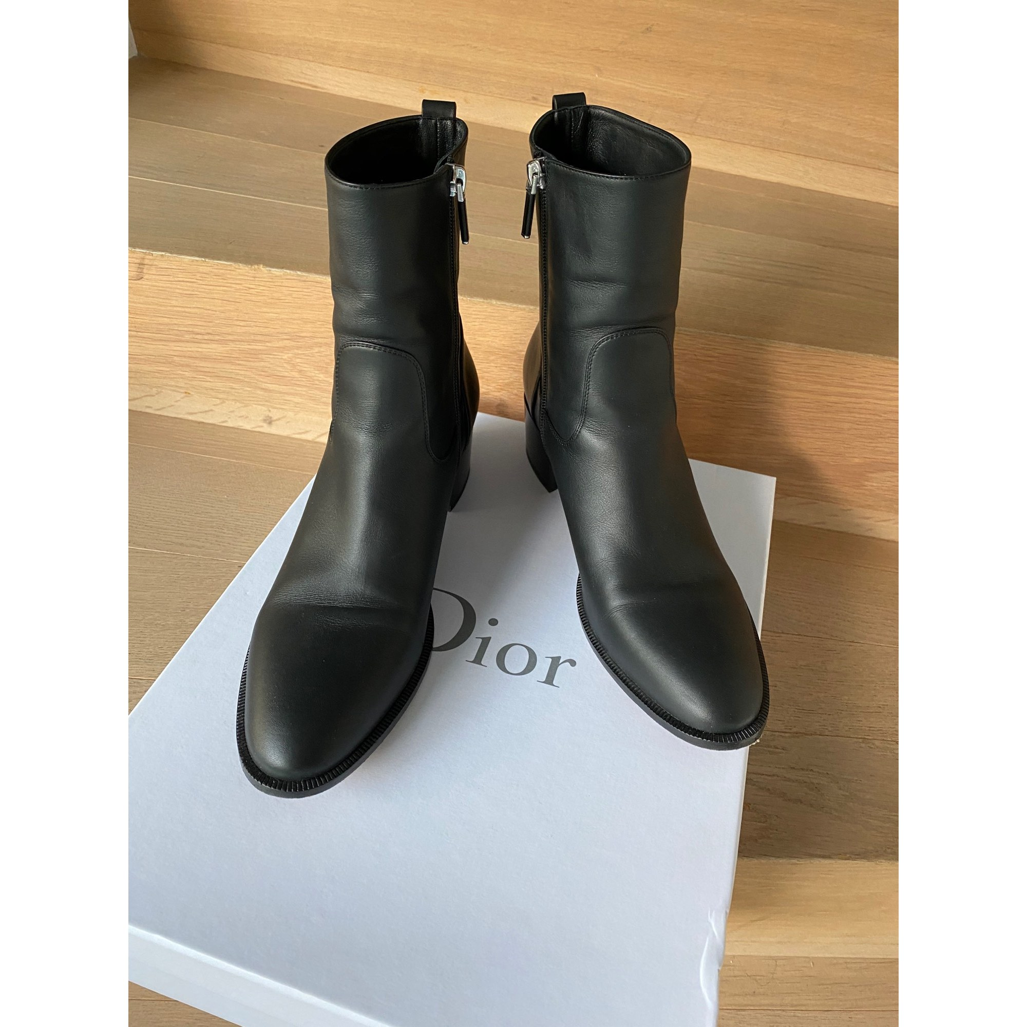 Santiags, bottines, low boots cowboy DIOR Noir