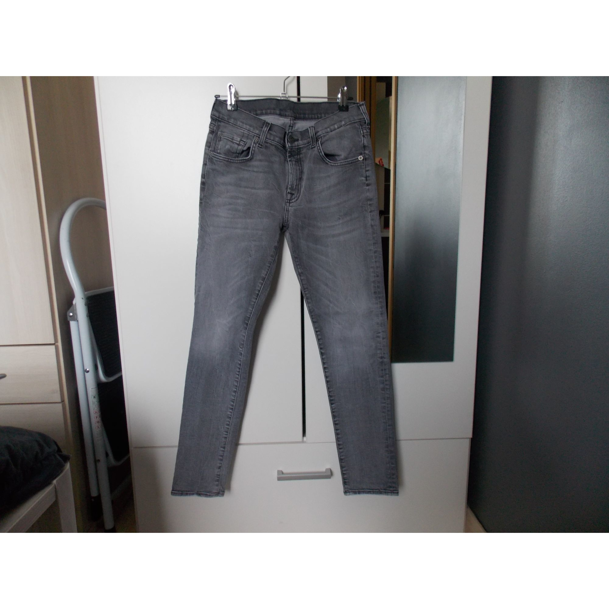 Jeans large, boyfriend 7 FOR ALL MANKIND Gris, anthracite
