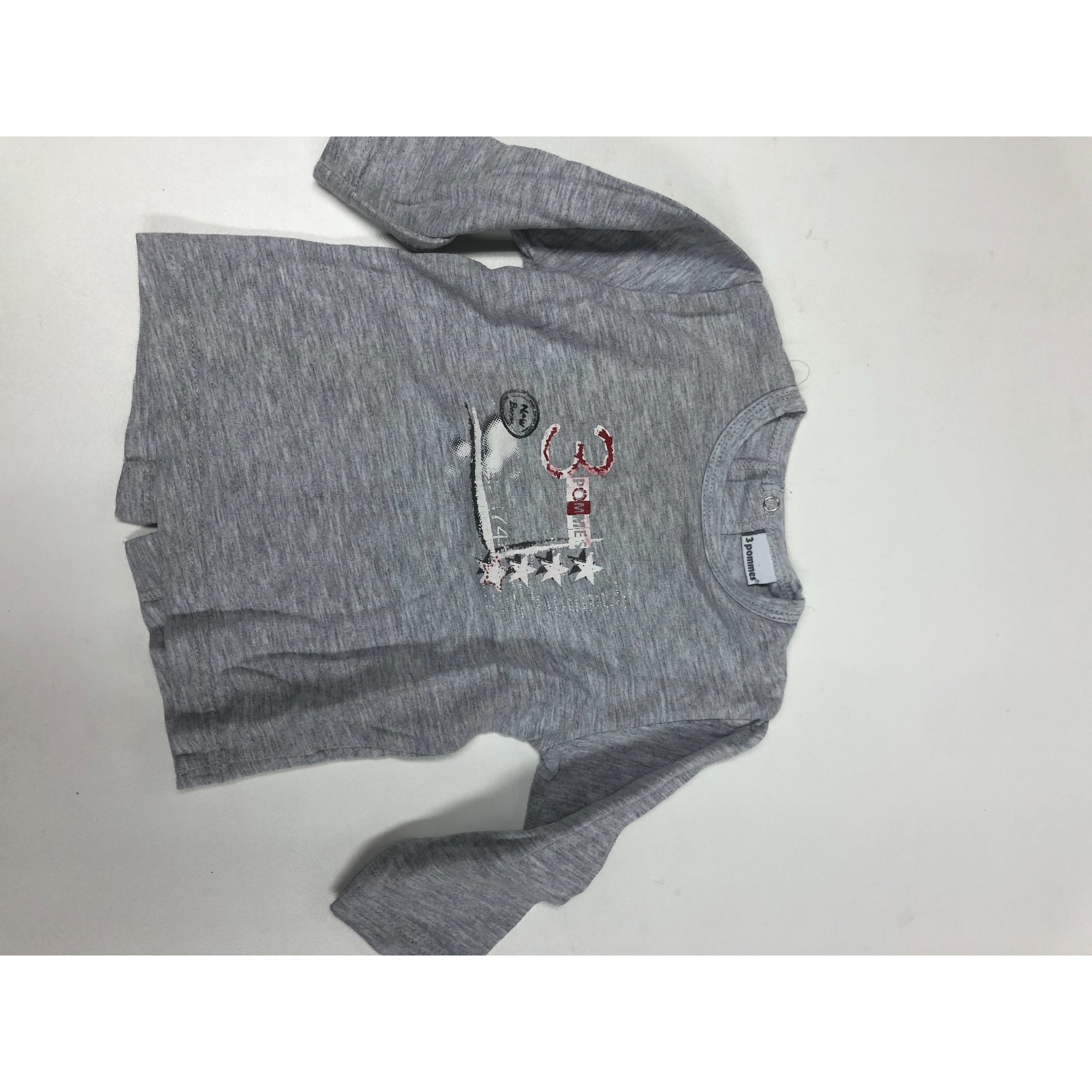 Top, tee shirt 3 POMMES Gris, anthracite