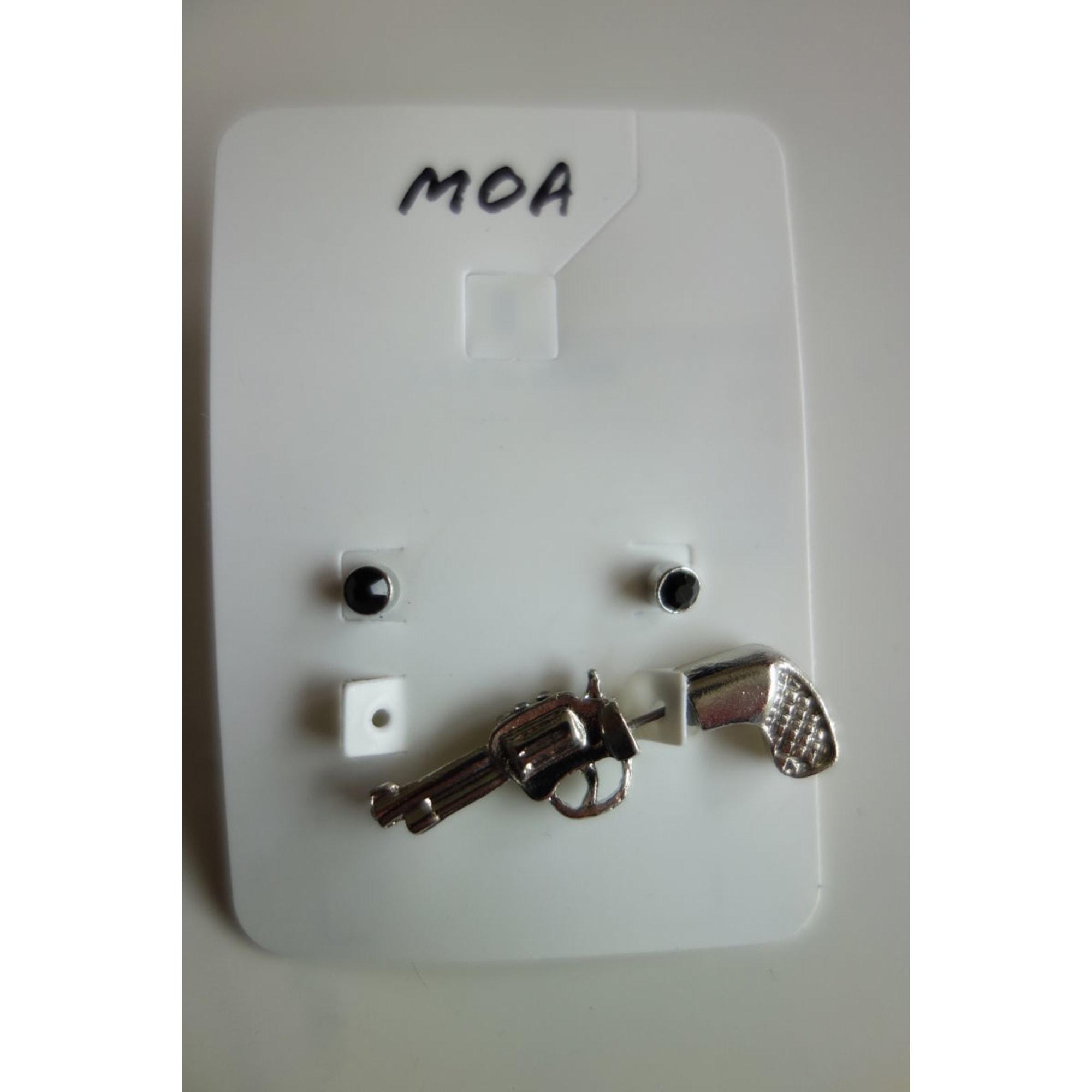 Boucles d'oreille MOA Argenté, acier