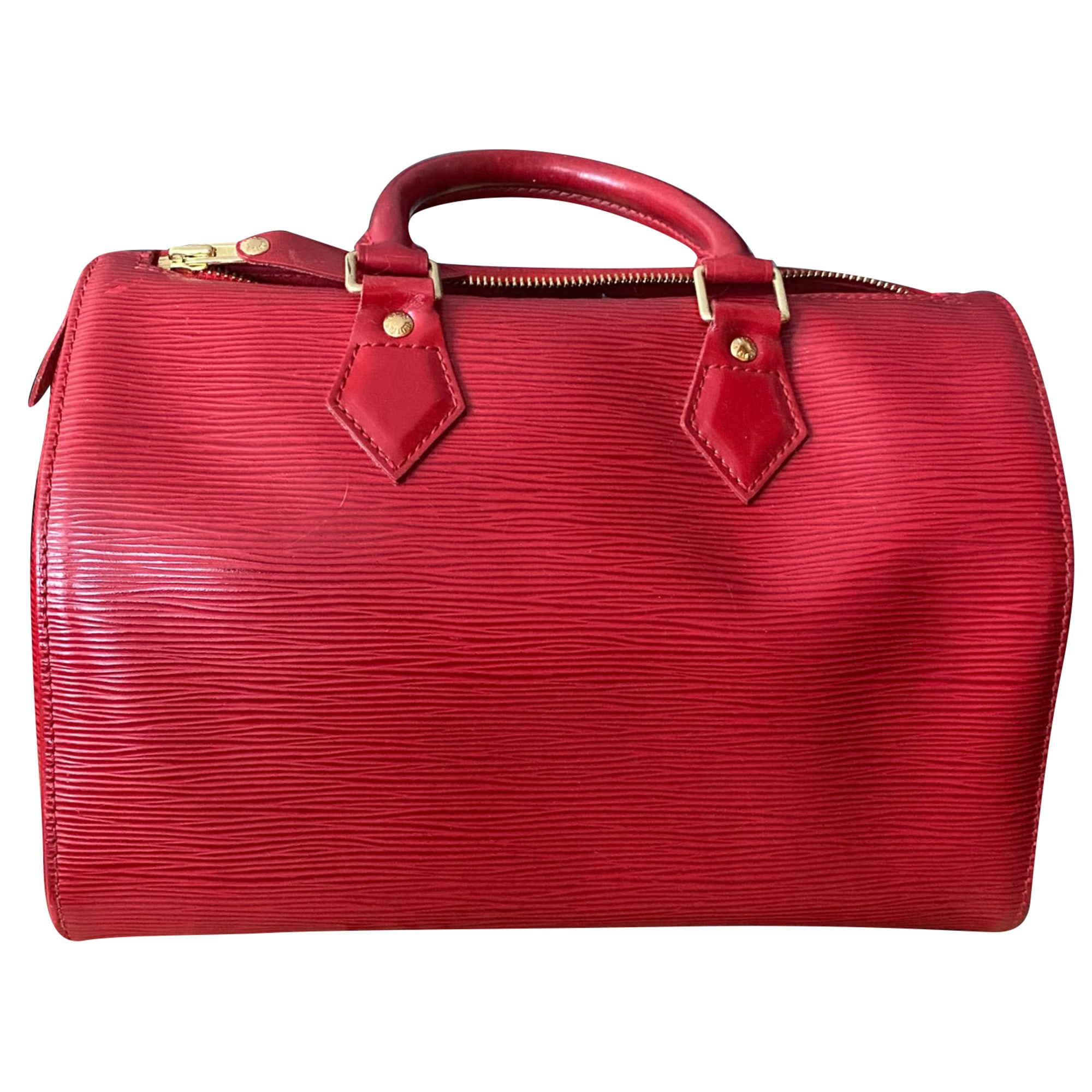 Sac à main en cuir LOUIS VUITTON Speedy Rouge, bordeaux