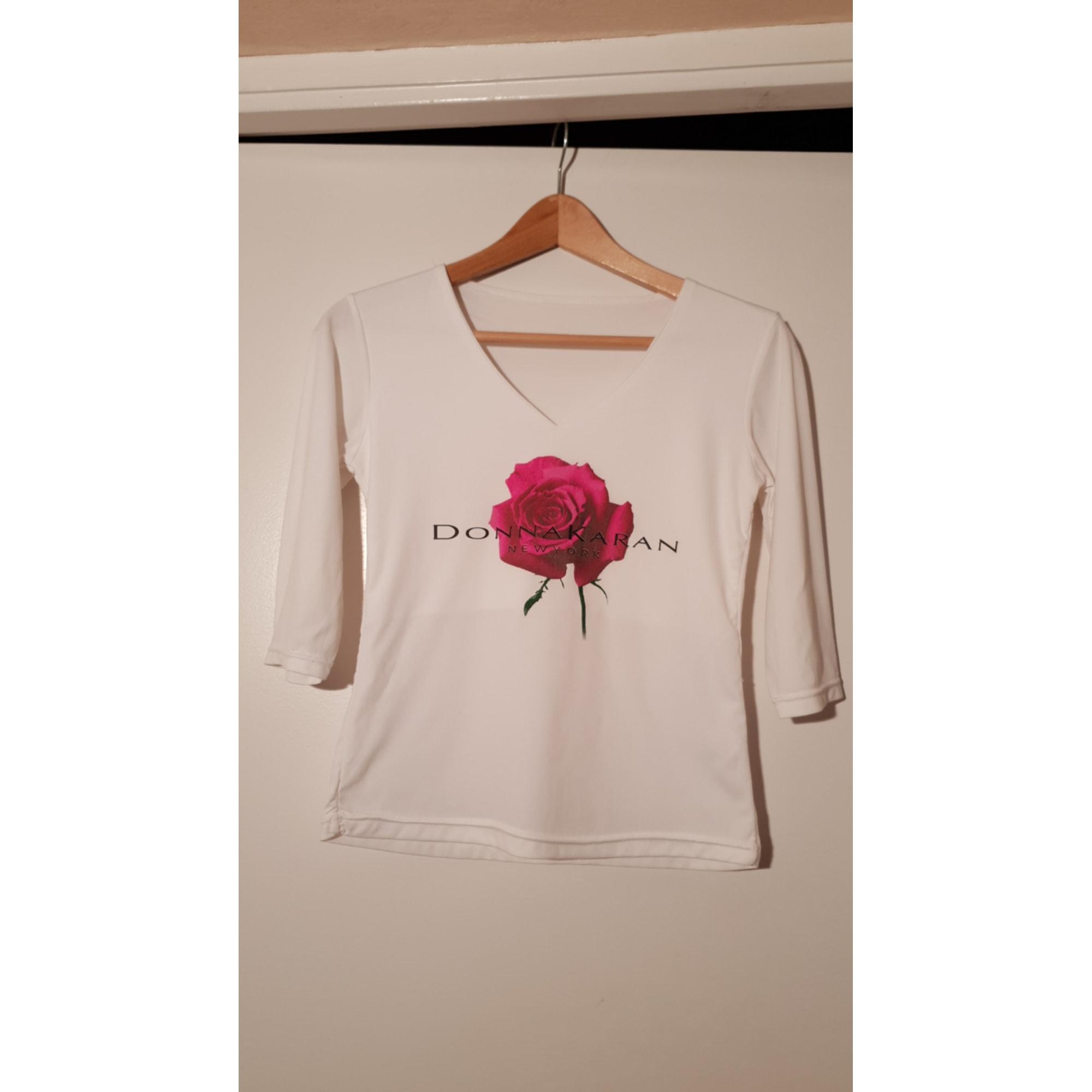 Top, tee-shirt DONNA KARAN Blanc, blanc cassé, écru