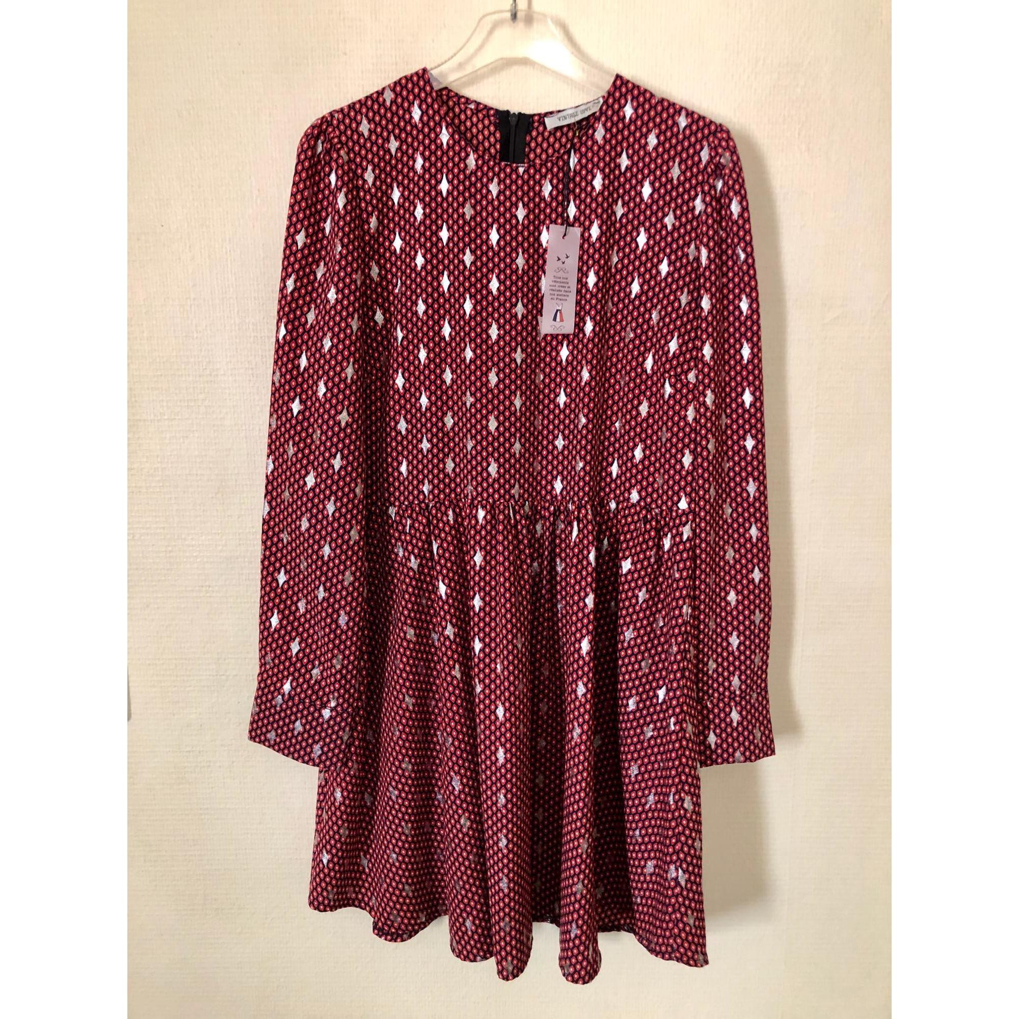 Robe courte VINTAGE LOVE Rouge, bordeaux