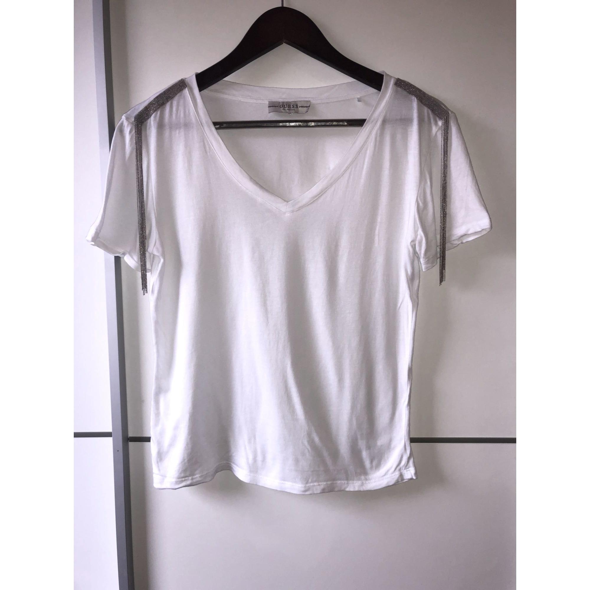 Top, tee-shirt GUESS Blanc, blanc cassé, écru