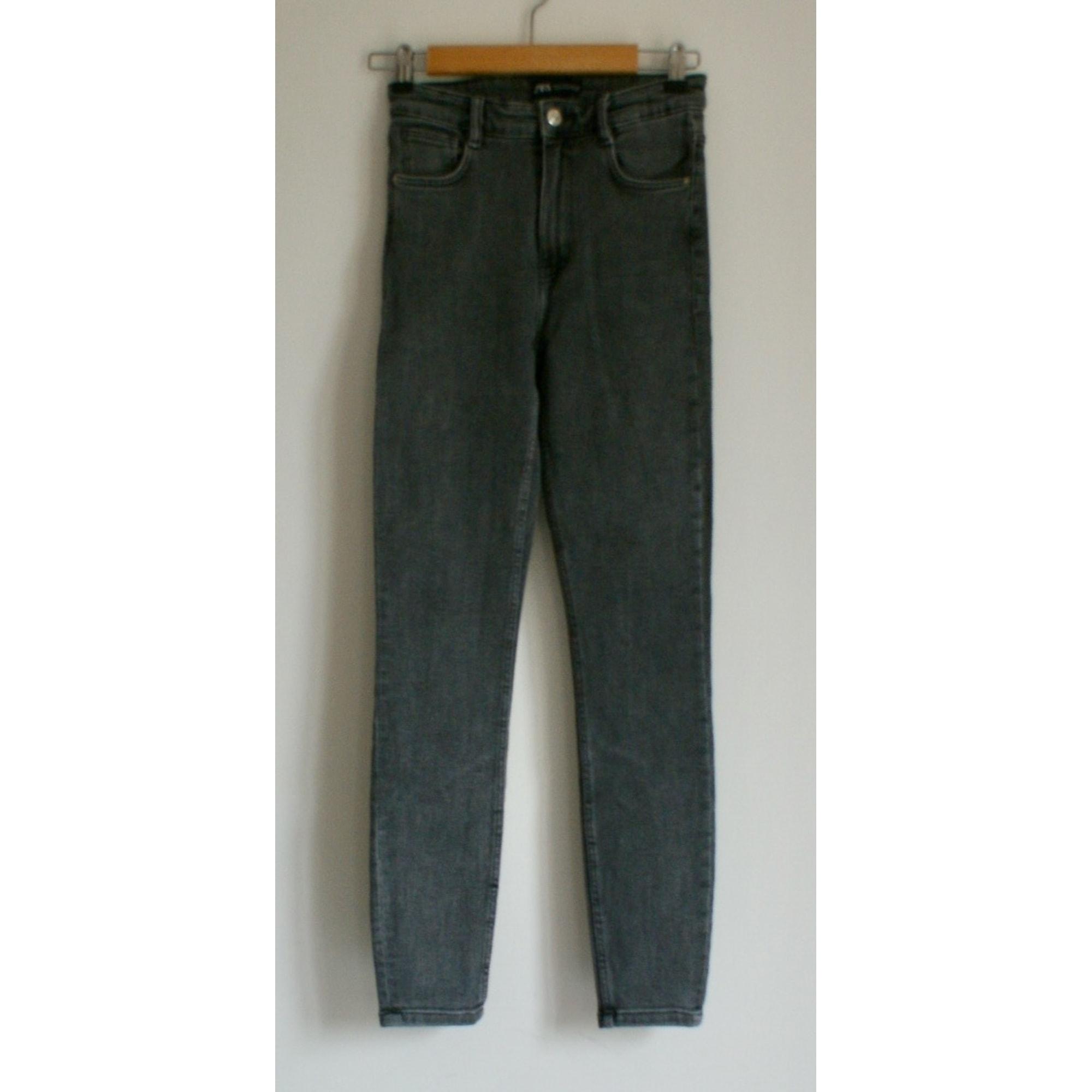 Jeans slim ZARA Gris, anthracite