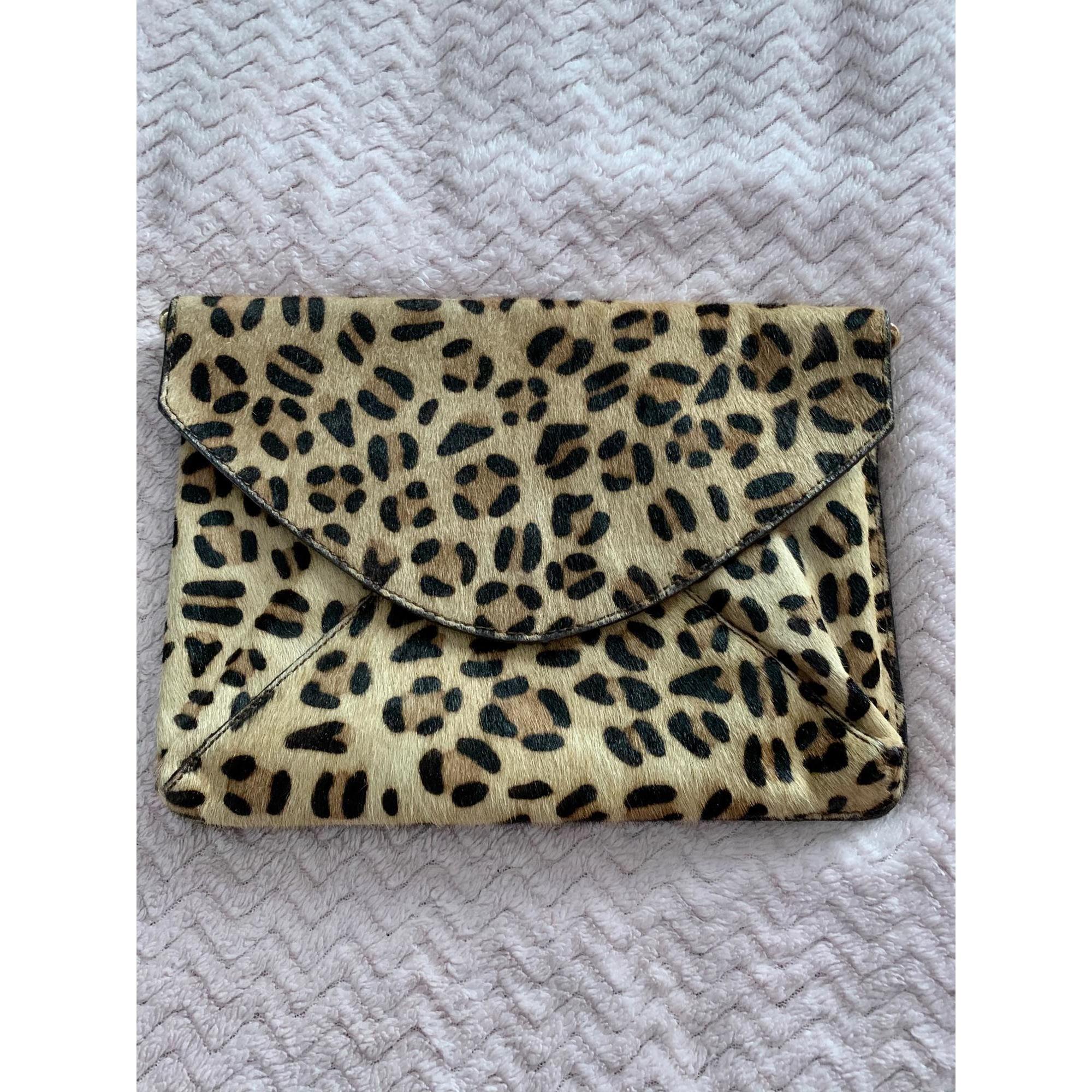 Sac pochette en cuir LA REDOUTE Leopard