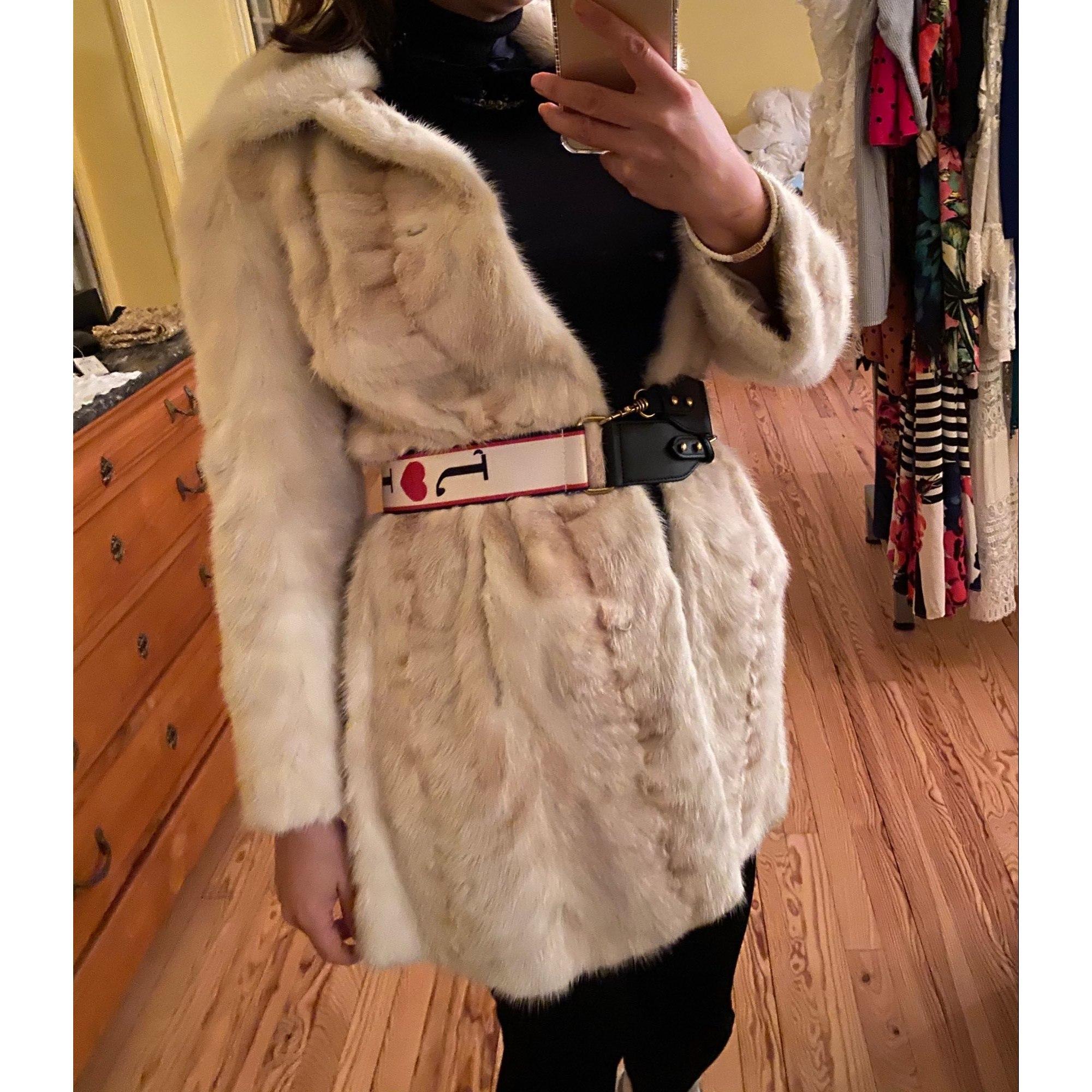 Manteau en fourrure ROGER BON Blanc, blanc cassé, écru