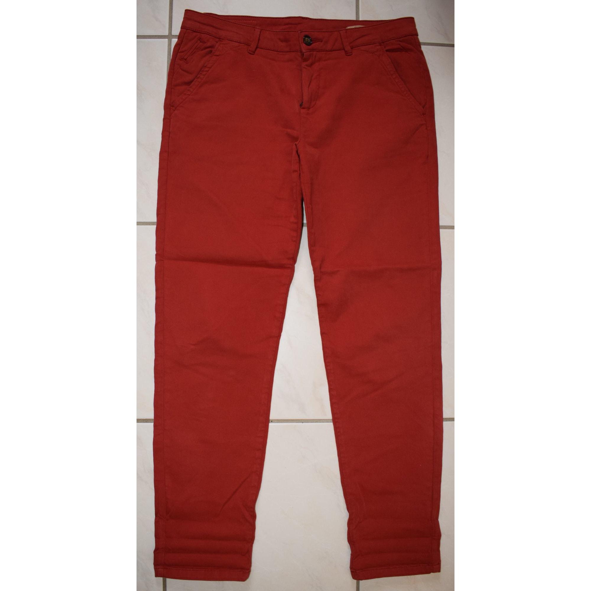 Pantalon droit REIKO Rouge, bordeaux