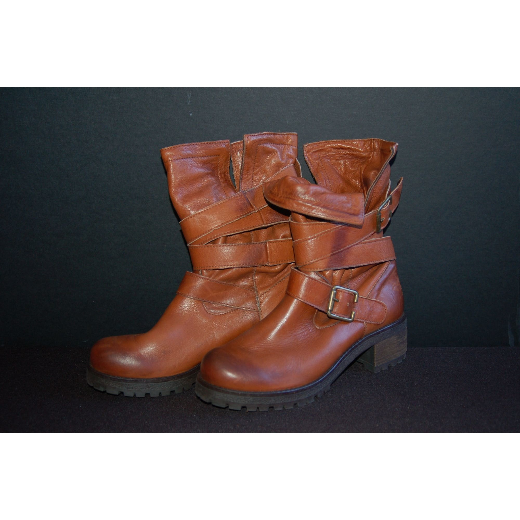 Bottines & low boots à talons MARQUE INCONNUE Marron