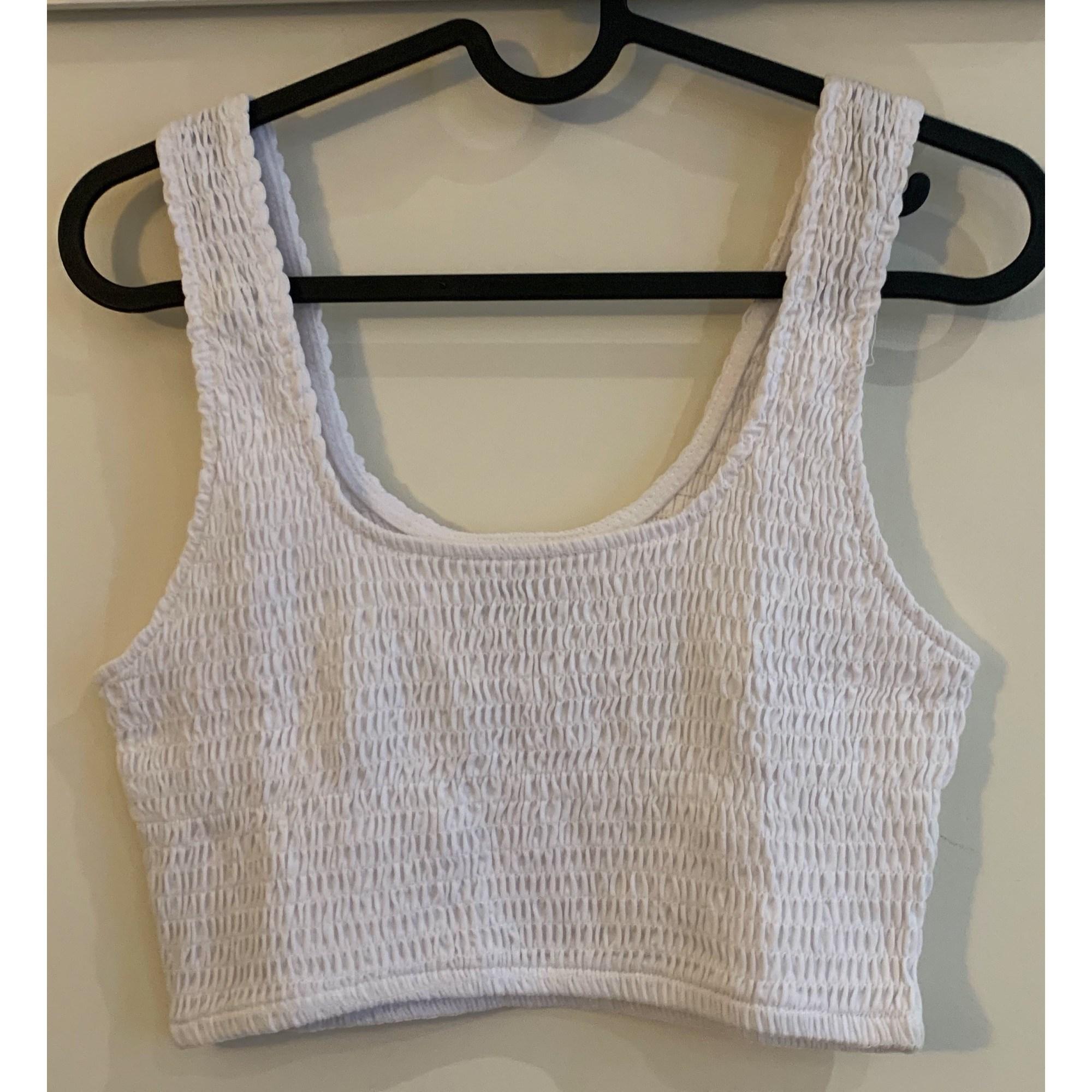 Top, tee-shirt BERSHKA Blanc, blanc cassé, écru