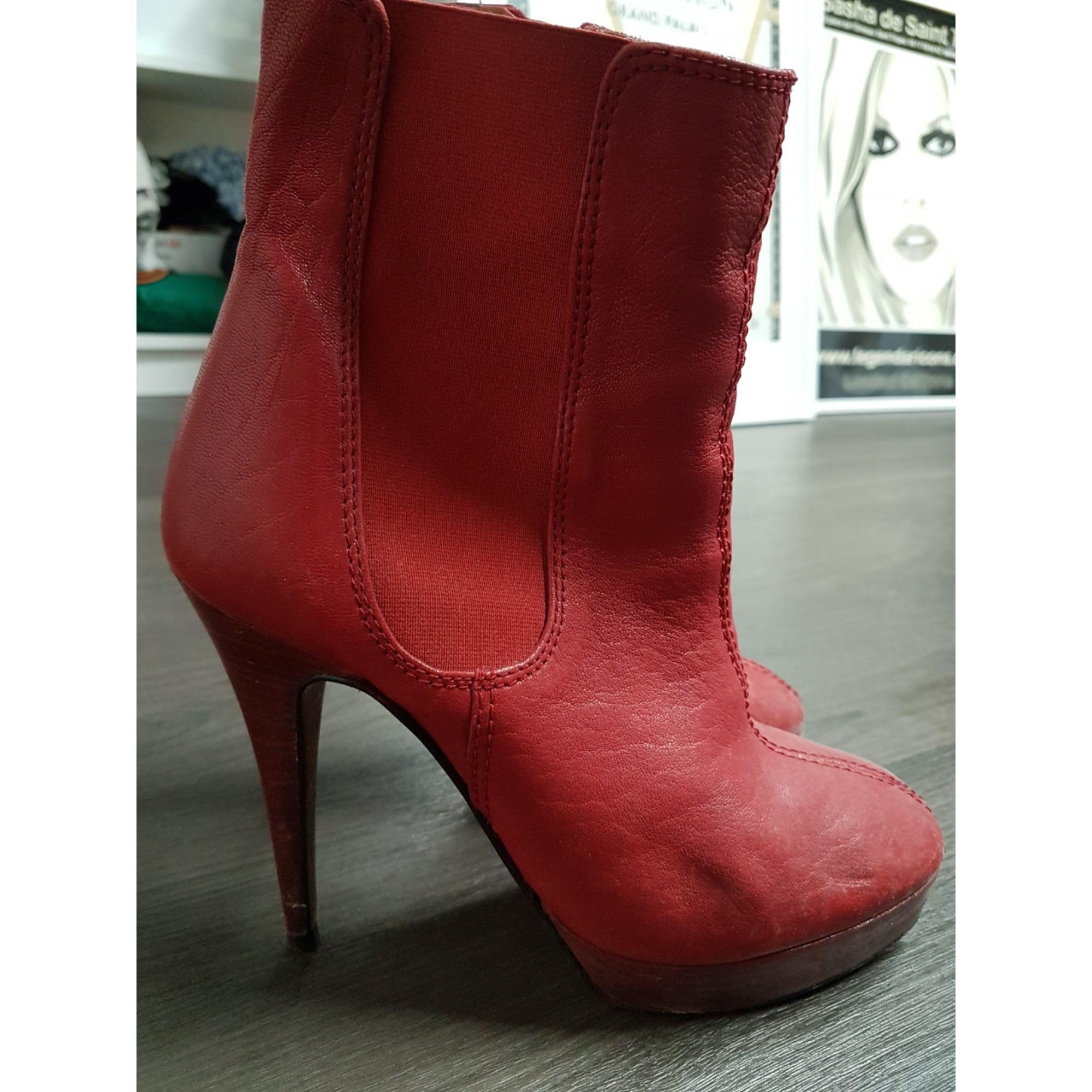 High Heel Ankle Boots ZARA Red, burgundy