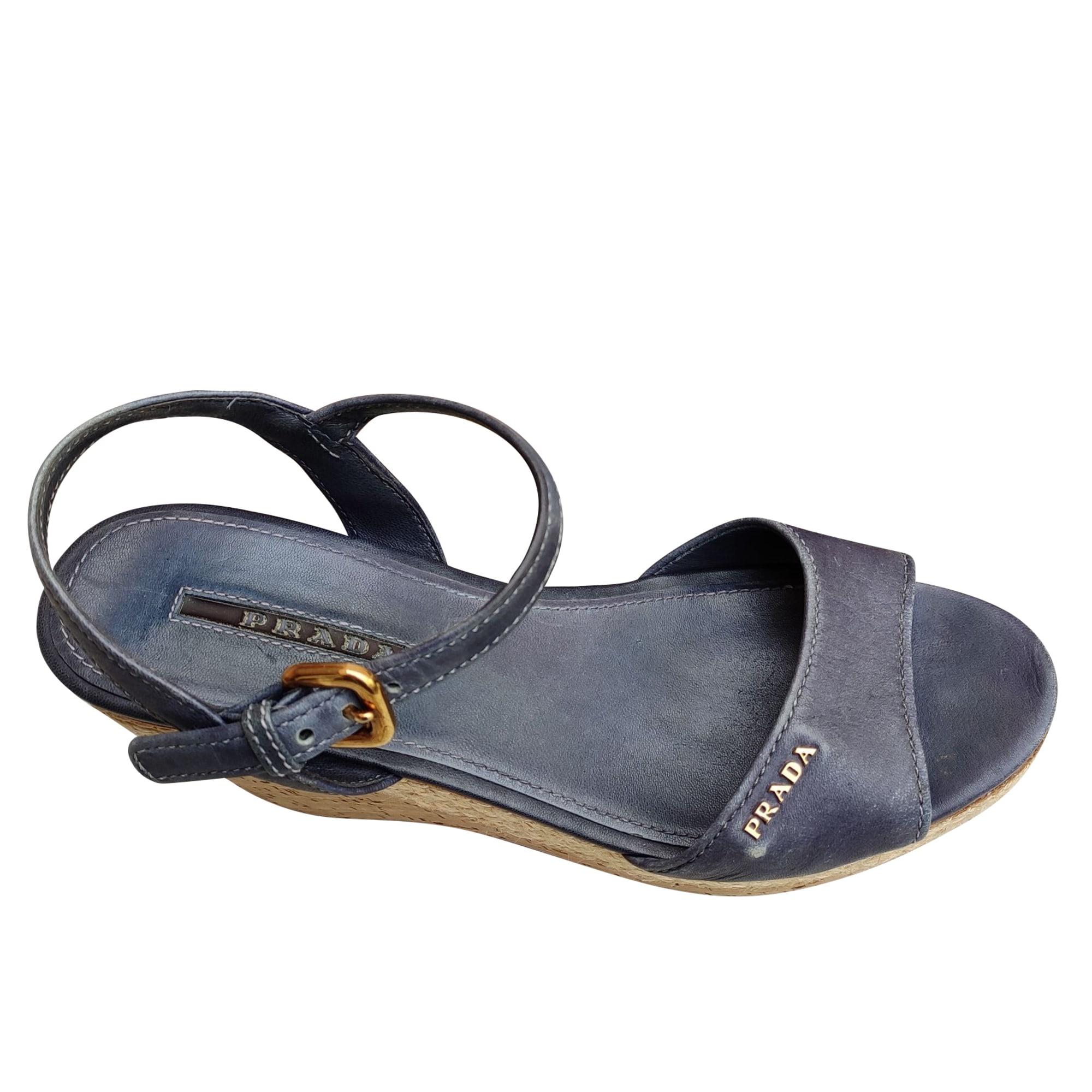 Sandales compensées PRADA Bleu, bleu marine, bleu turquoise