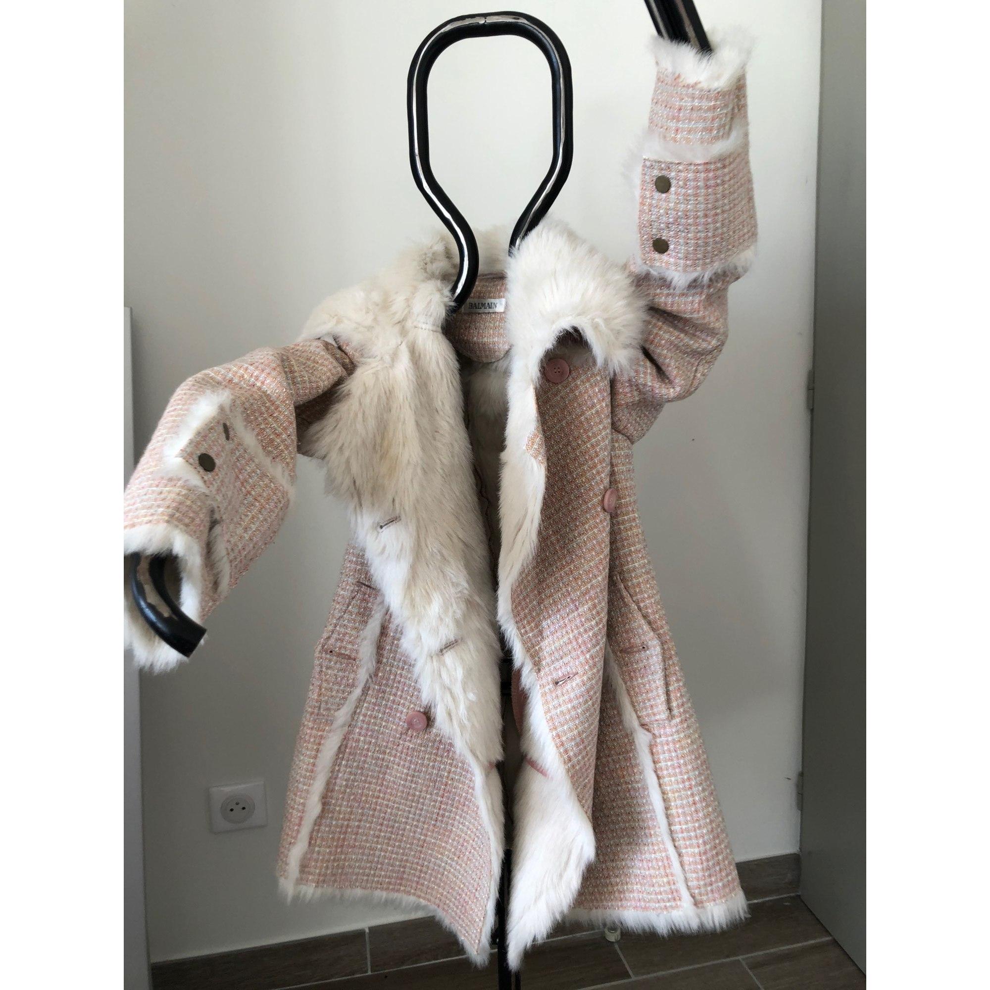 Manteau en fourrure BALMAIN Beige blanc
