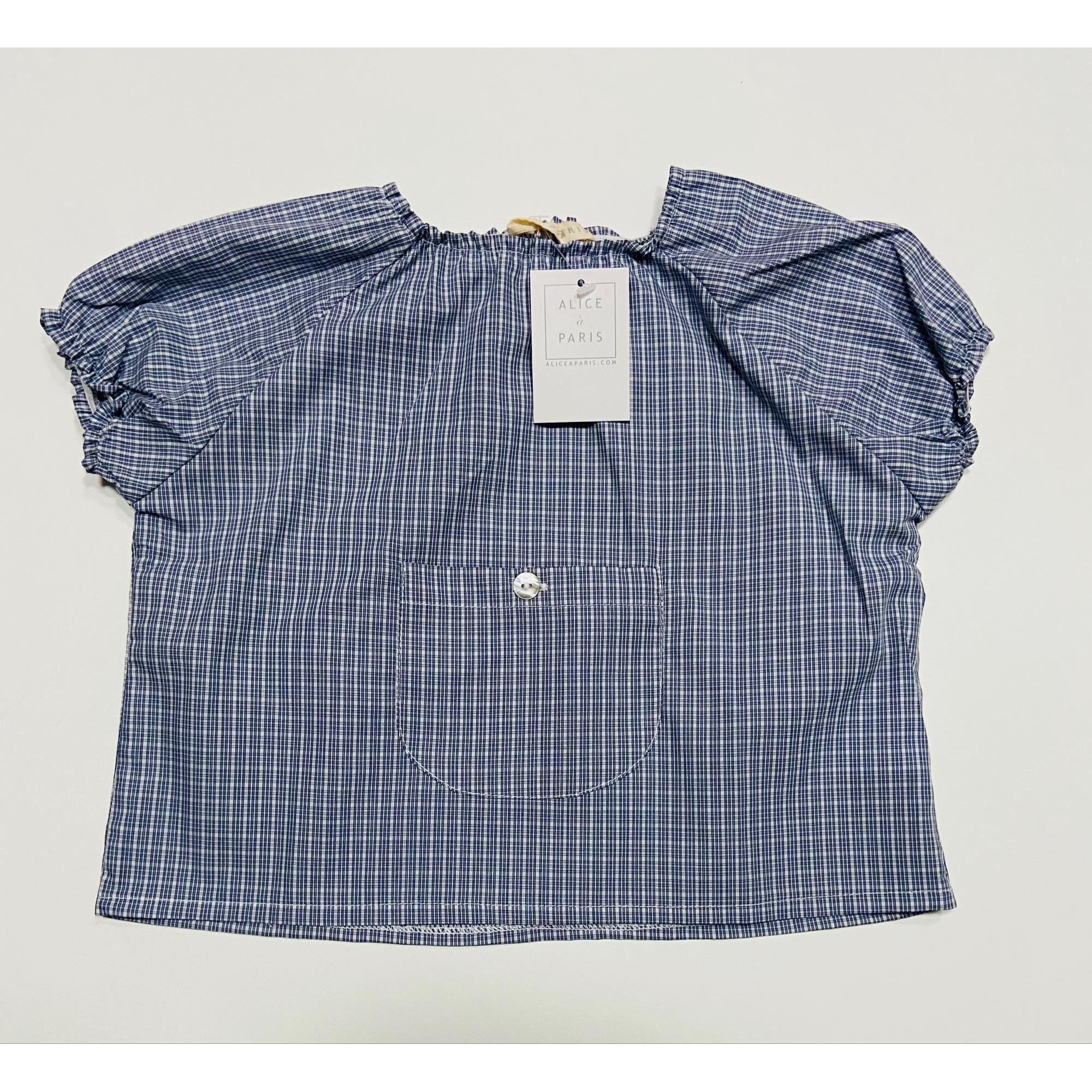 Top, tee shirt ALICE A PARIS Carreaux blanc bleu