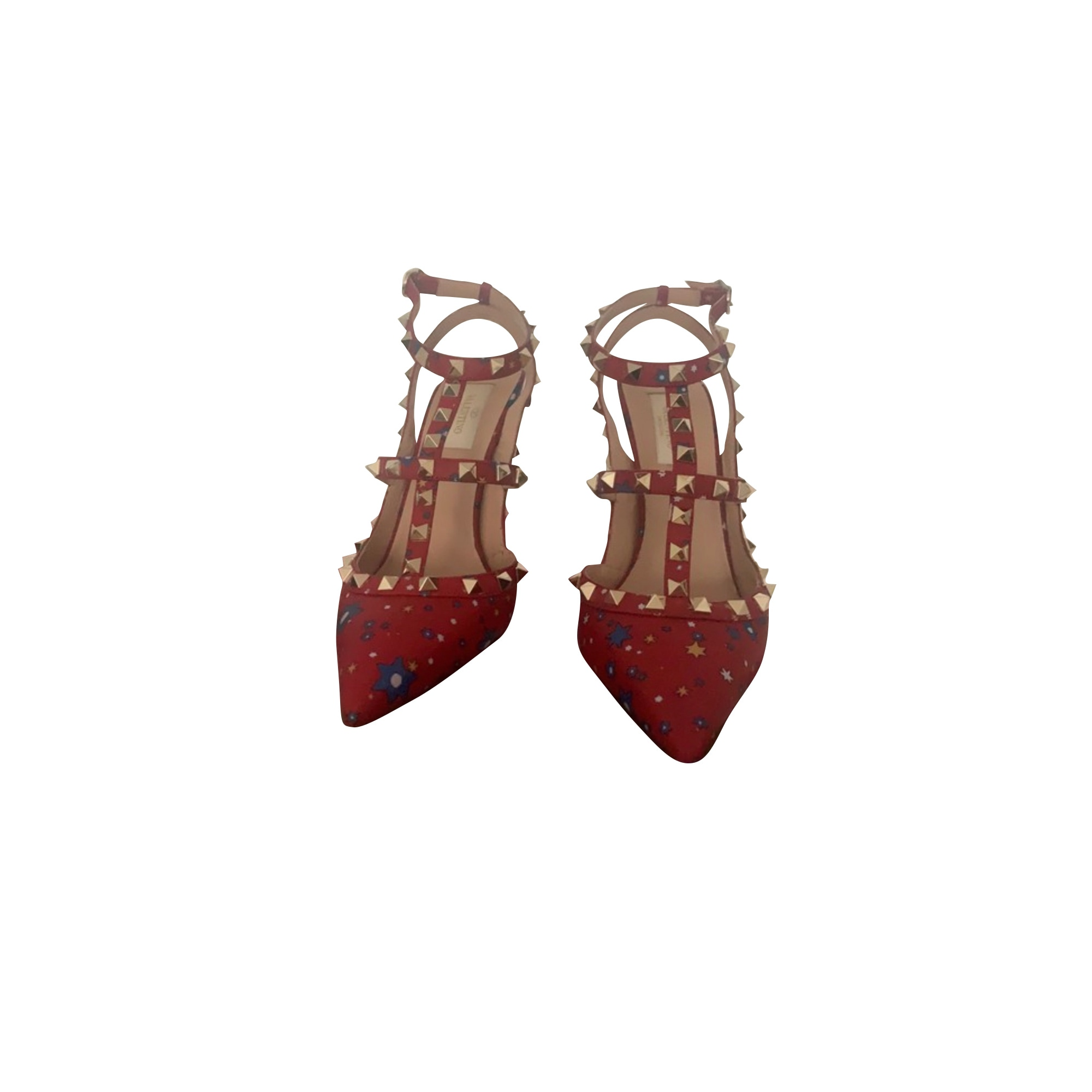 Sandales à talons VALENTINO Rockstud Rouge, bordeaux