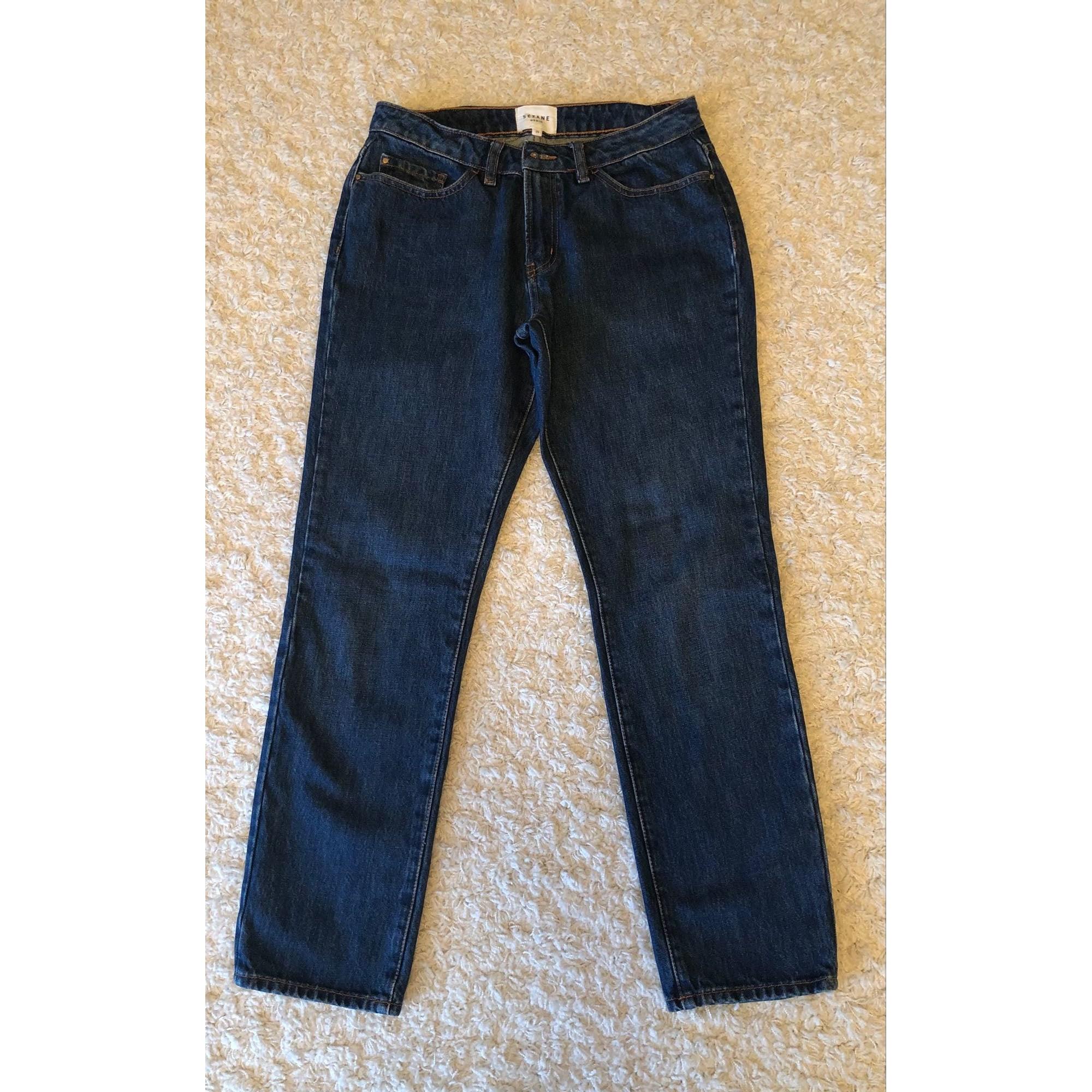Jeans droit SÉZANE Bleu, bleu marine, bleu turquoise