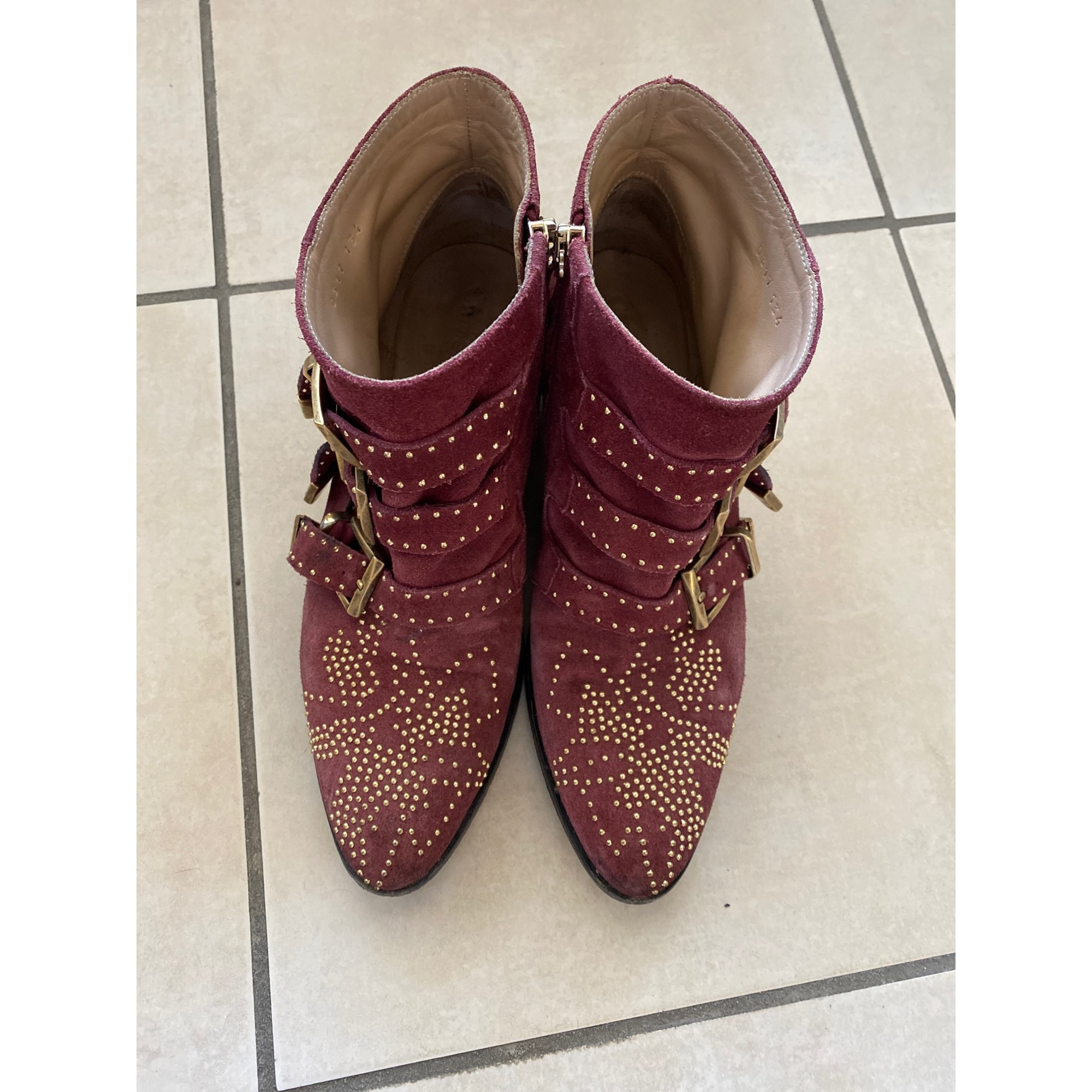 Cowboy Ankle Boots CHLOÉ Susanna Red, burgundy