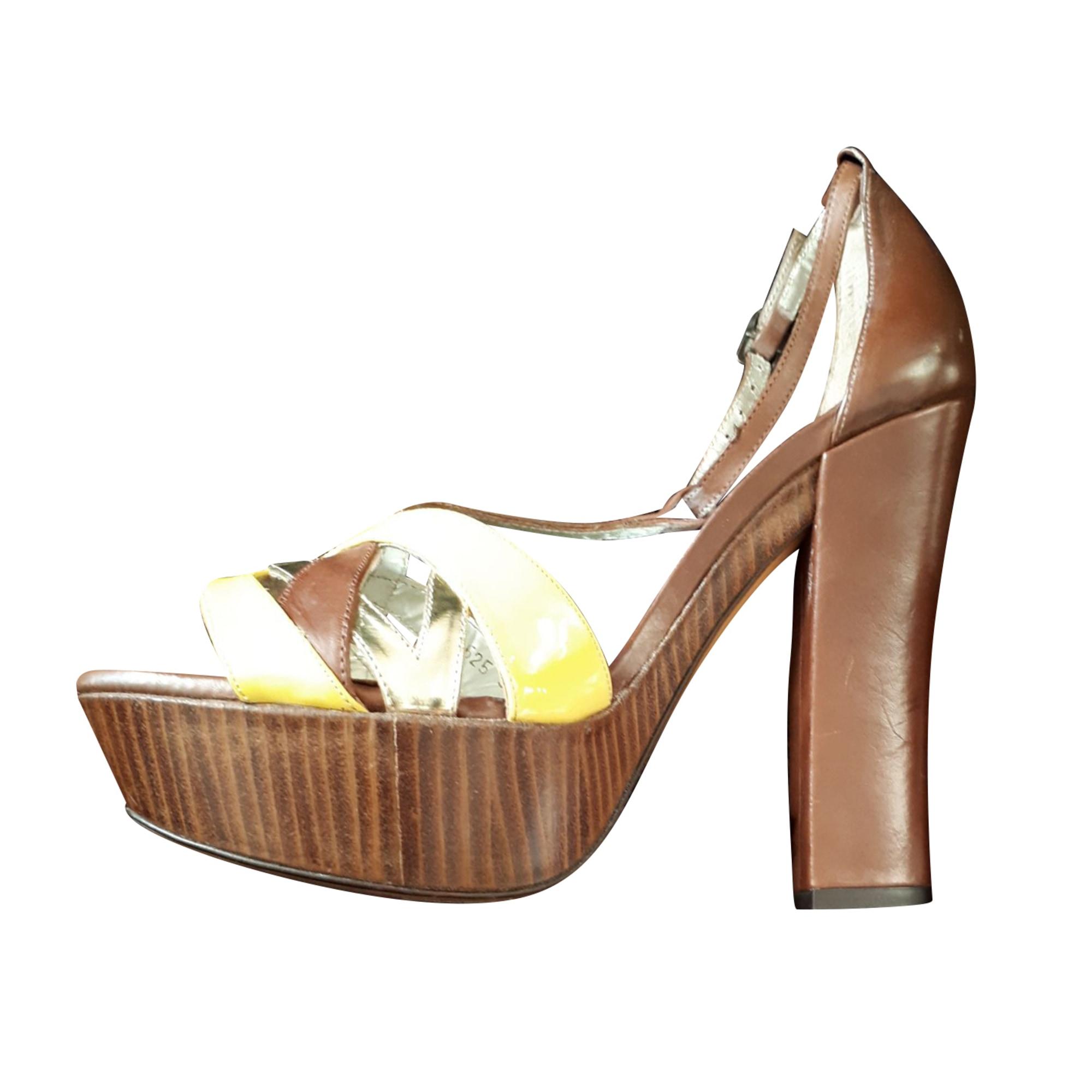 Sandales compensées PURA LOPEZ Marron