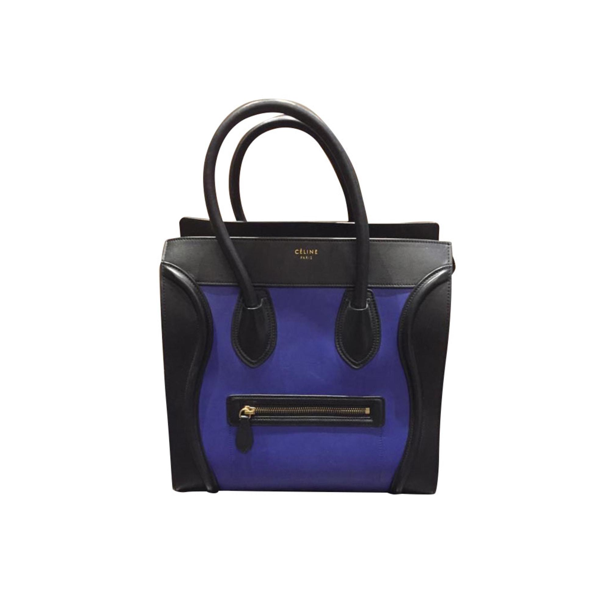 Sac à main en cuir CÉLINE Luggage Bleu, bleu marine, bleu turquoise