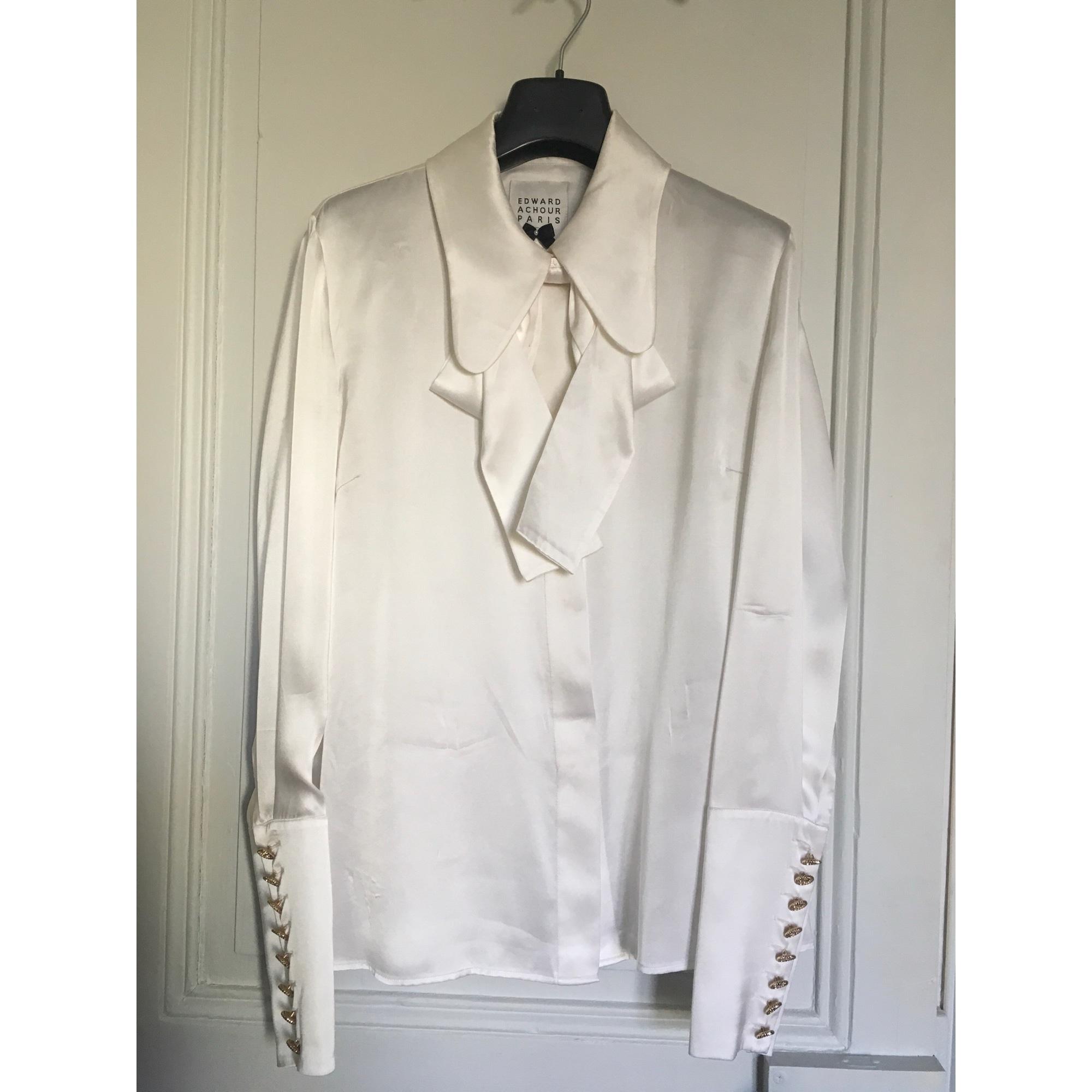 Chemisier EDWARD ACHOUR Blanc, blanc cassé, écru