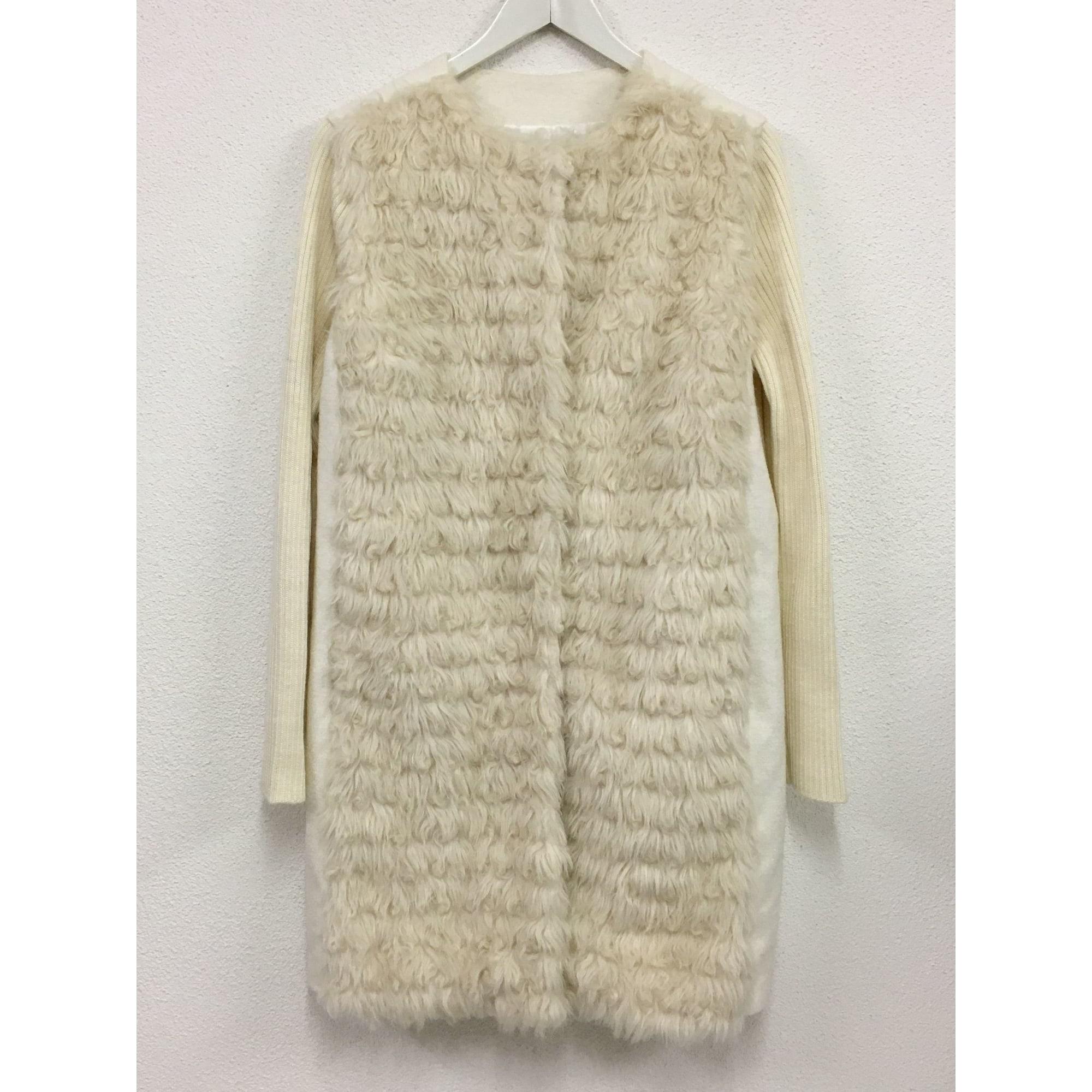 Manteau en fourrure MARIA GRAZIA SEVERI Blanc, blanc cassé, écru