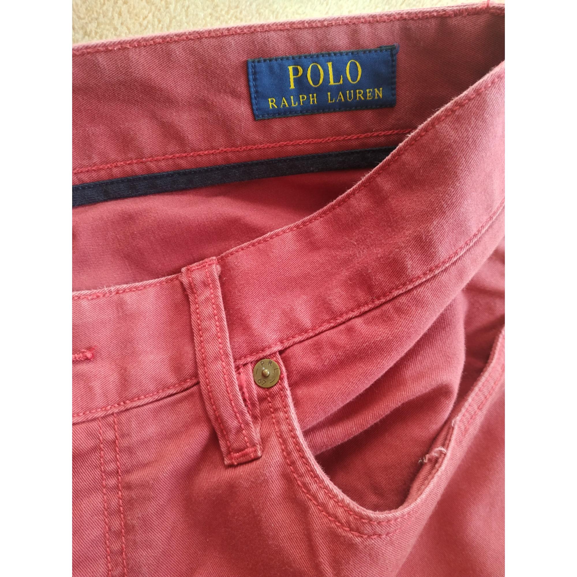 Pantalon droit RALPH LAUREN Rouge, bordeaux