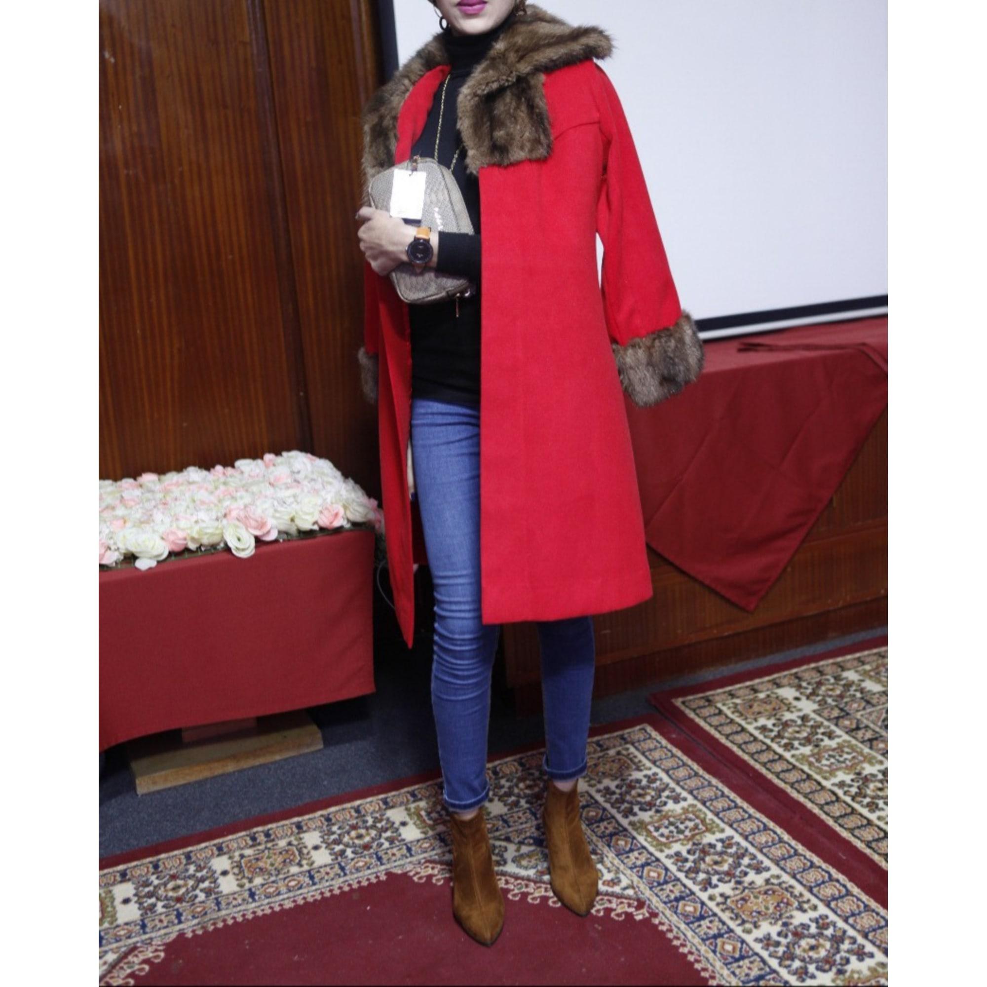 Manteau en fourrure FATIMA KARIM Rouge, bordeaux