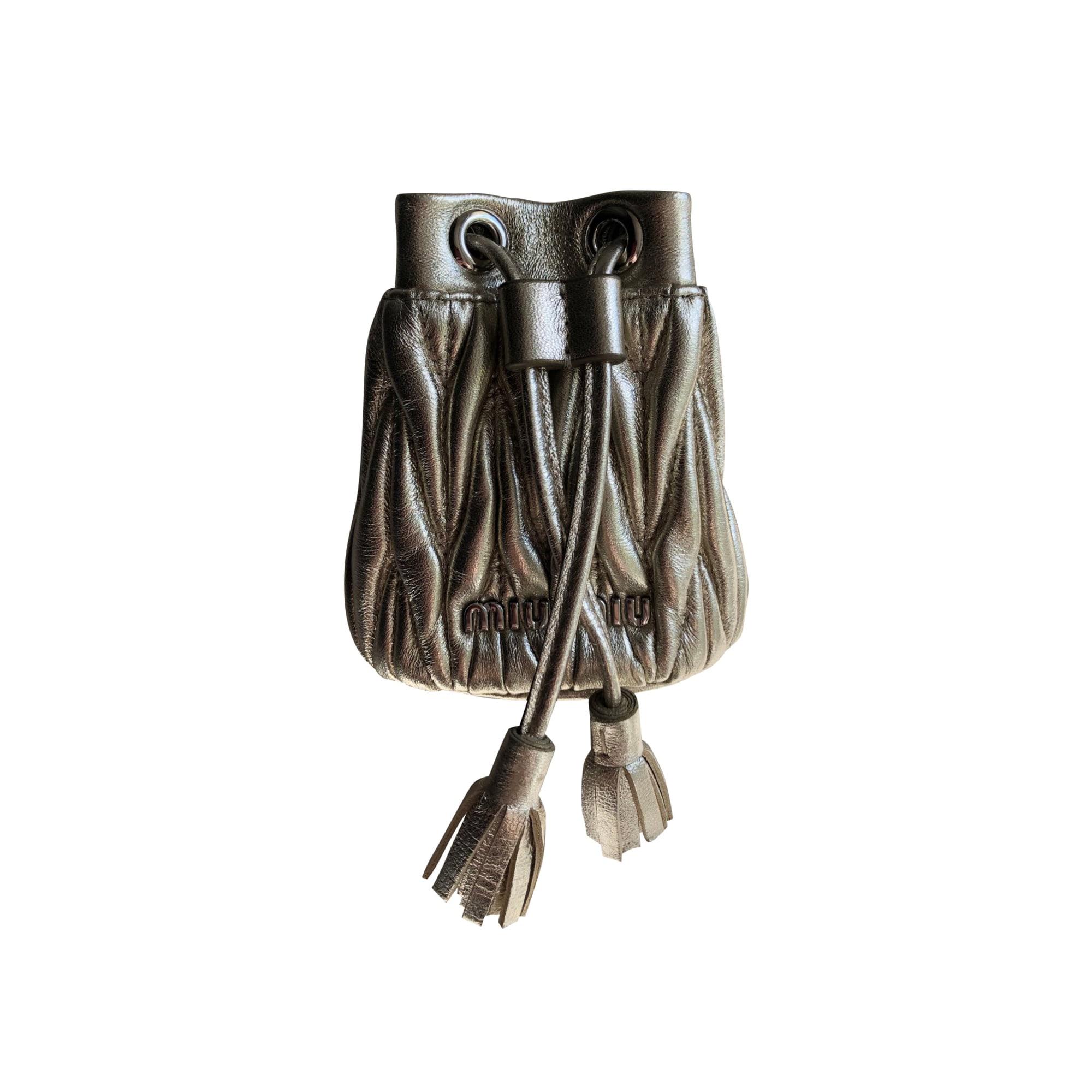 Sac en bandoulière en cuir MIU MIU Doré, bronze, cuivre