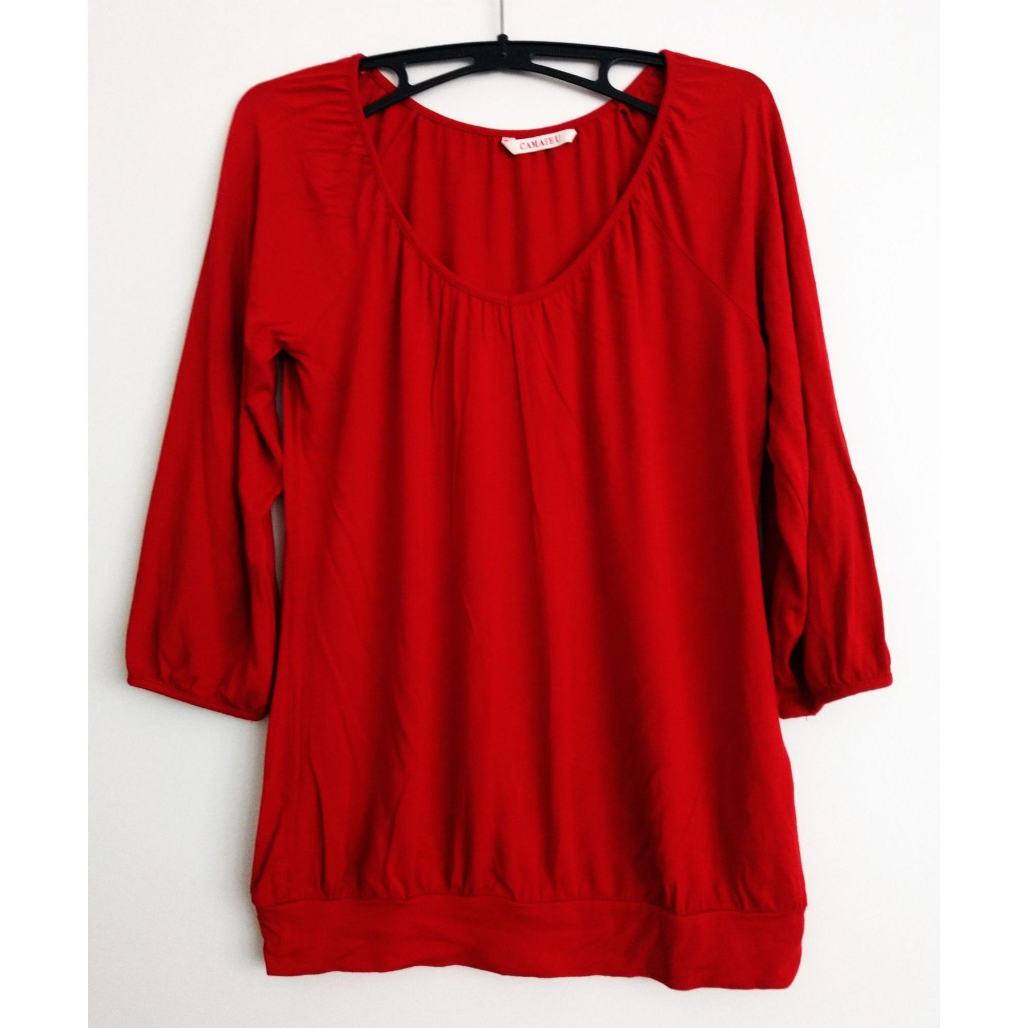 Top, tee-shirt CAMAIEU Rouge, bordeaux