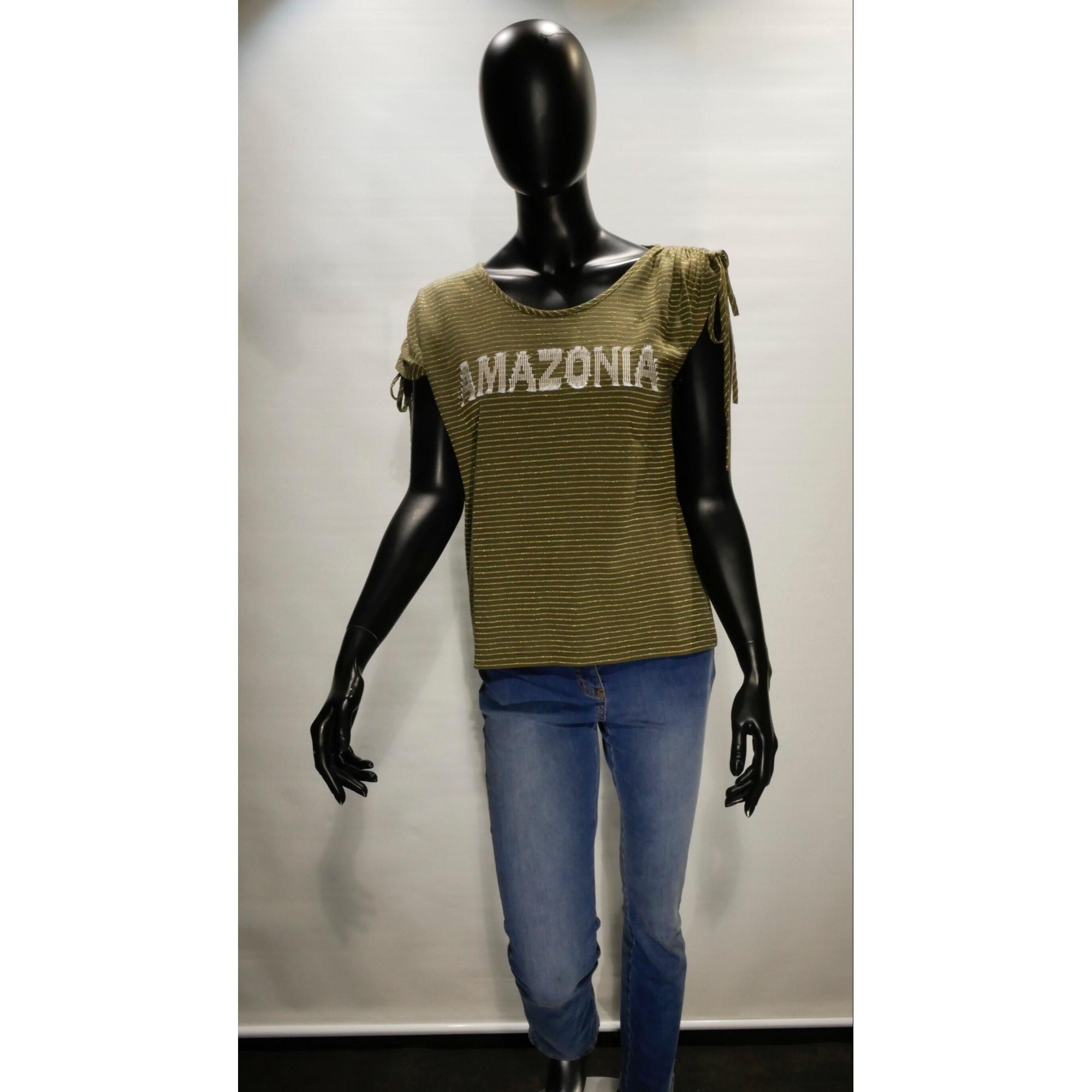 Top, tee-shirt UN JOUR AILLEURS Kaki