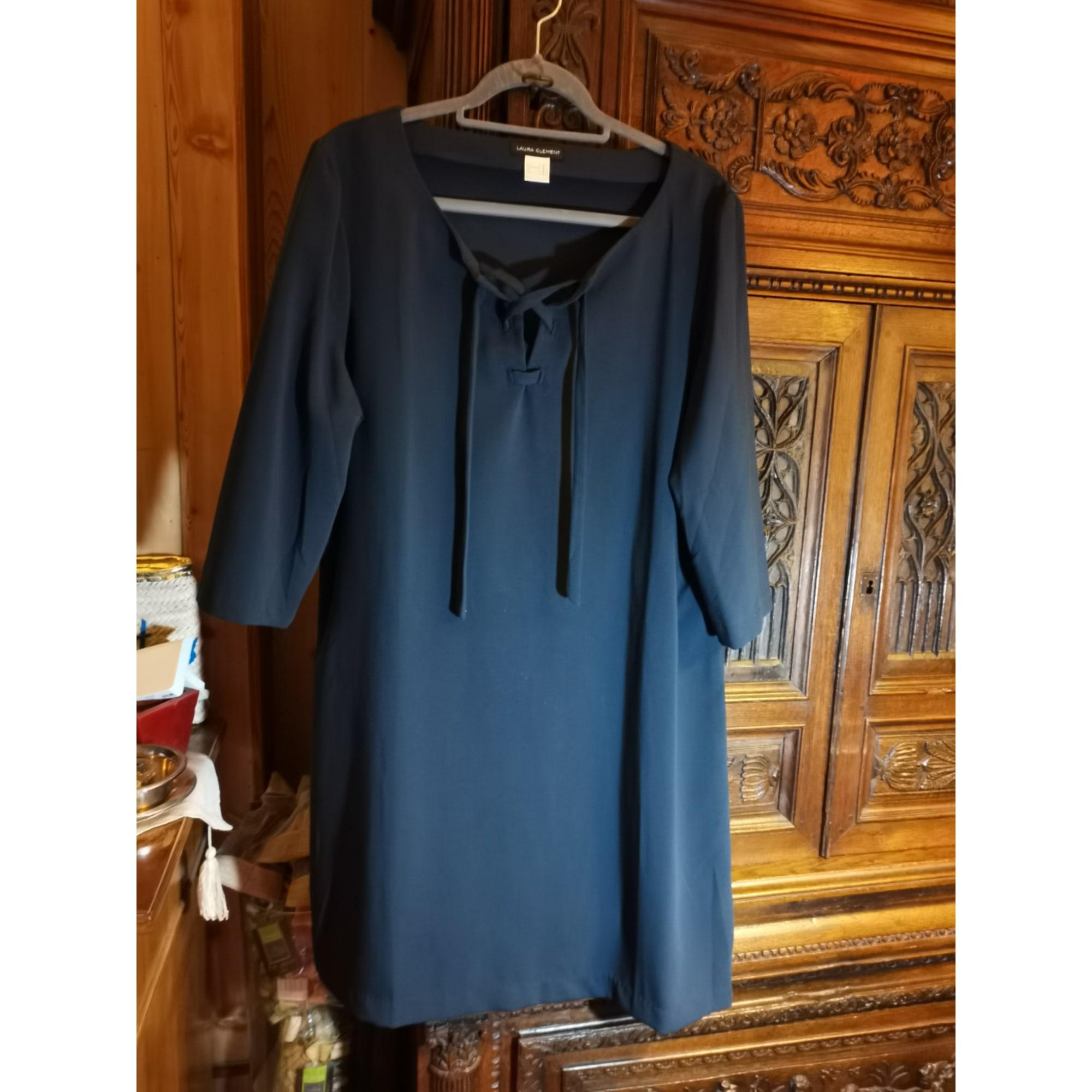 Robe mi-longue LAURA CLÉMENT Bleu, bleu marine, bleu turquoise