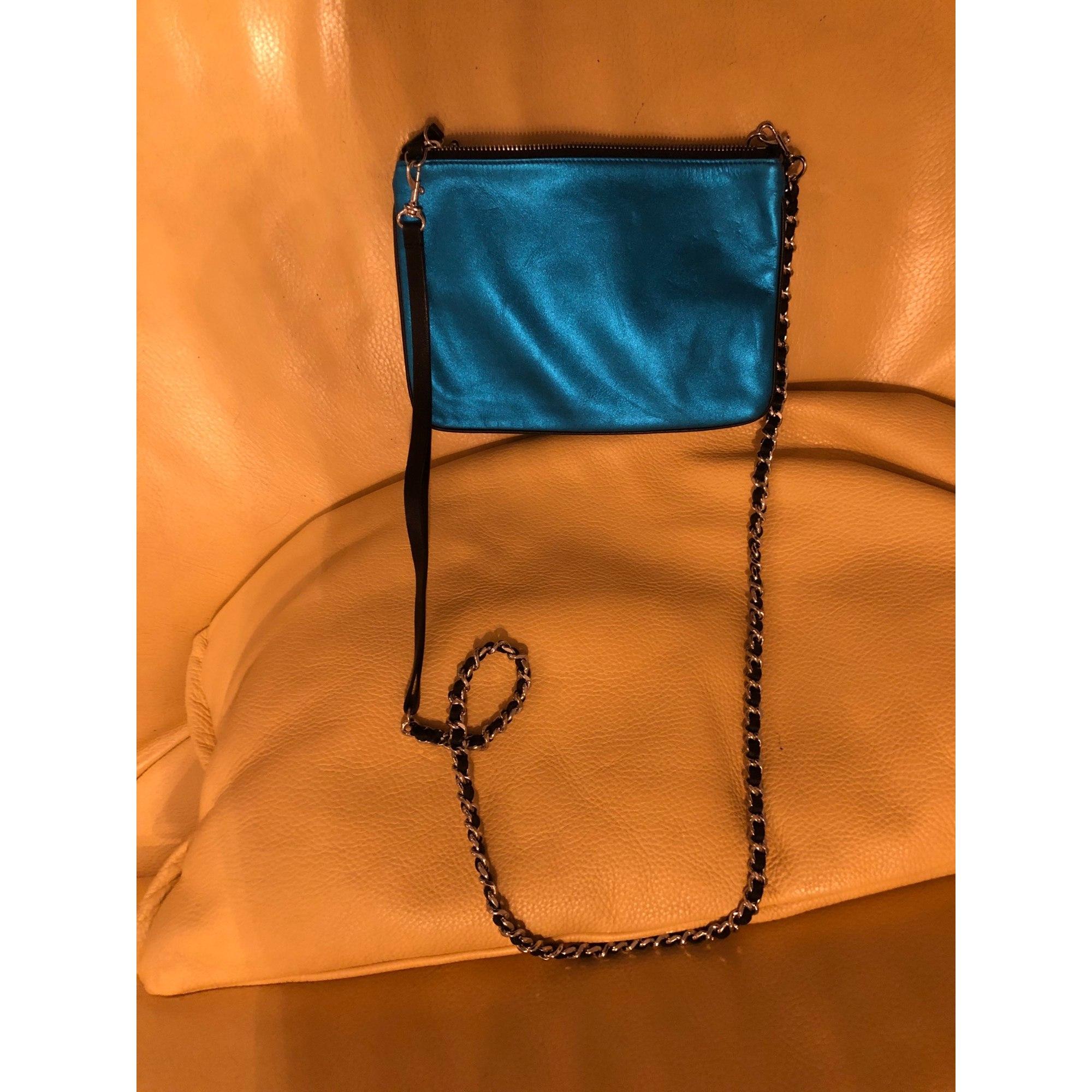 Sac en bandoulière en cuir SANDRO Bleu, bleu marine, bleu turquoise