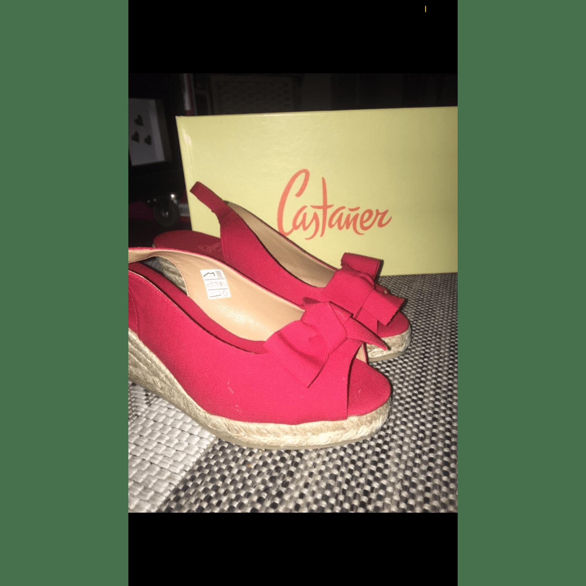 Sandales compensées CASTANER Rouge, bordeaux