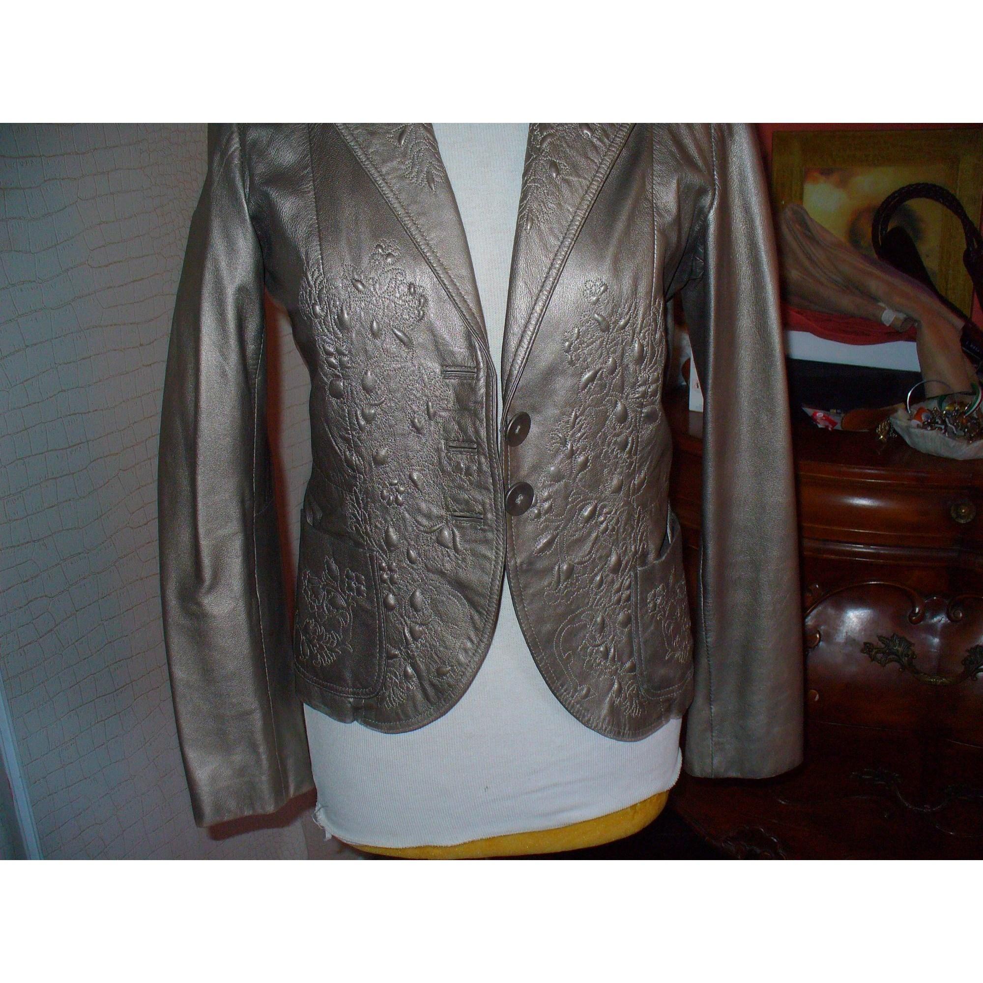 Veste en cuir ARMAND VENTILO Doré, bronze, cuivre