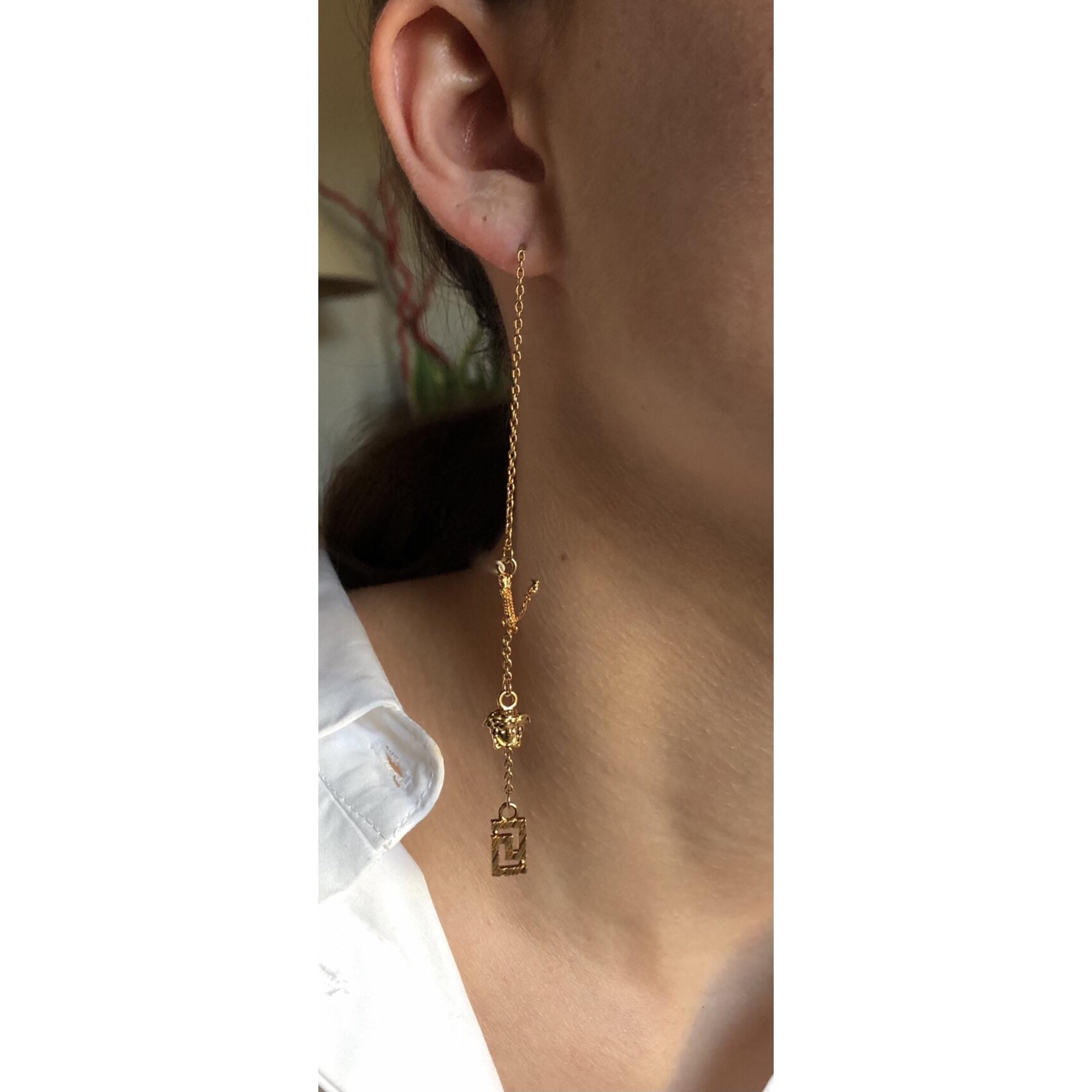 Boucles d'oreille VERSACE Doré, bronze, cuivre