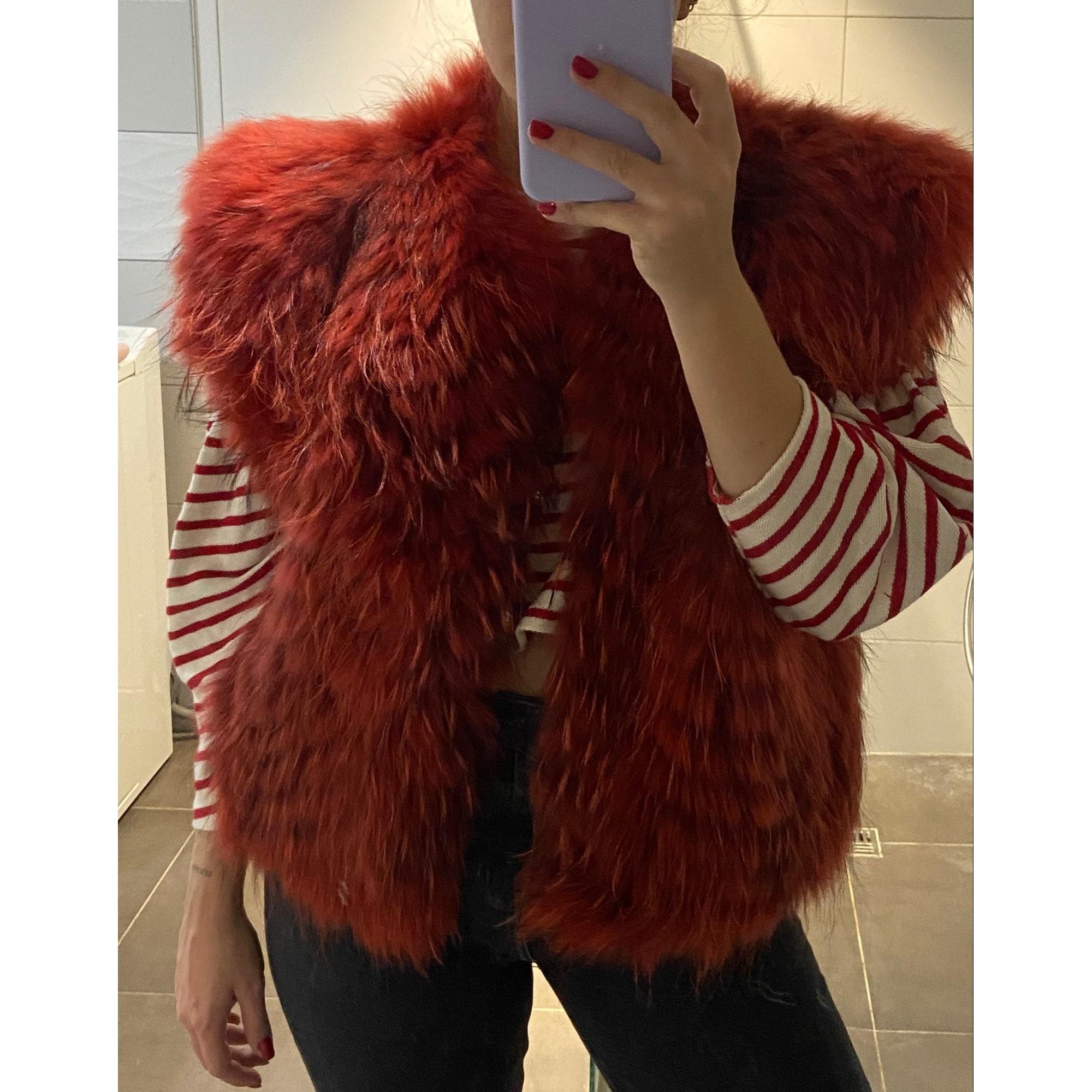 Manteau en fourrure MARQUE INCONNUE Rouge, bordeaux