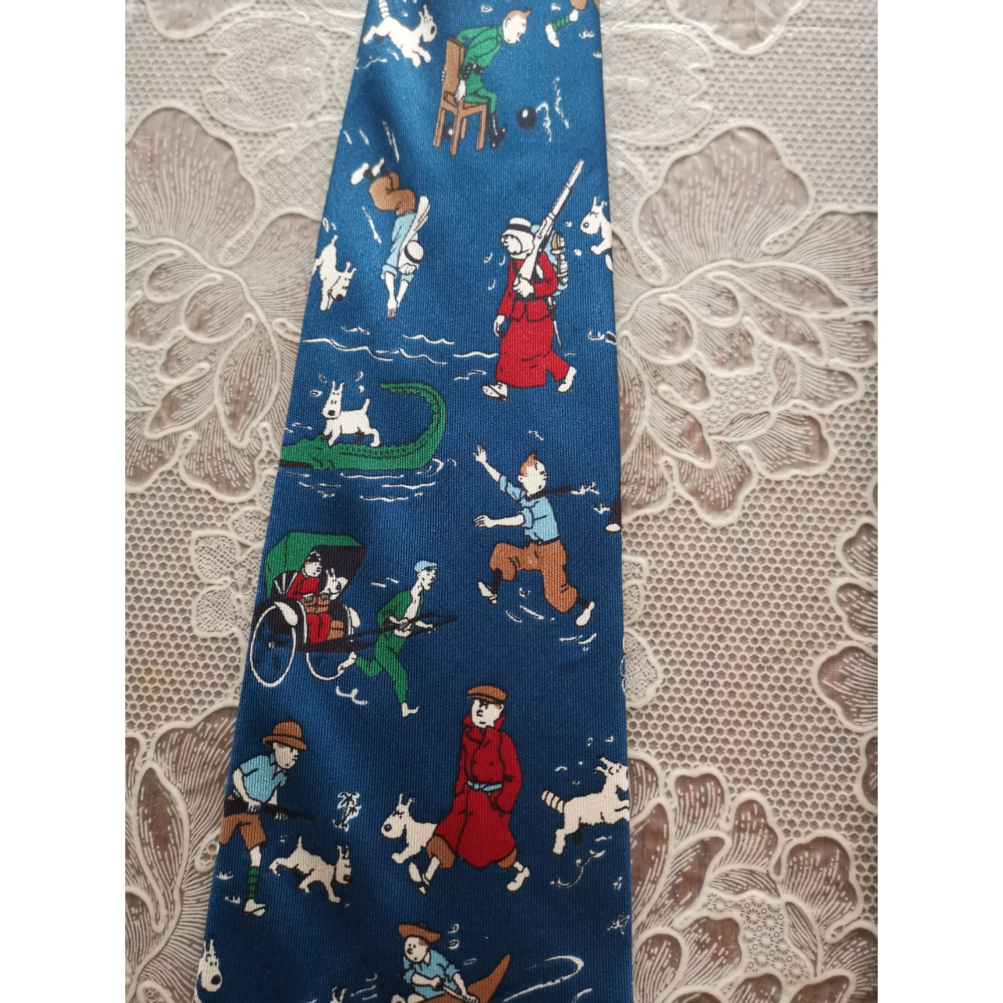 Cravate TINTIN Bleu, bleu marine, bleu turquoise