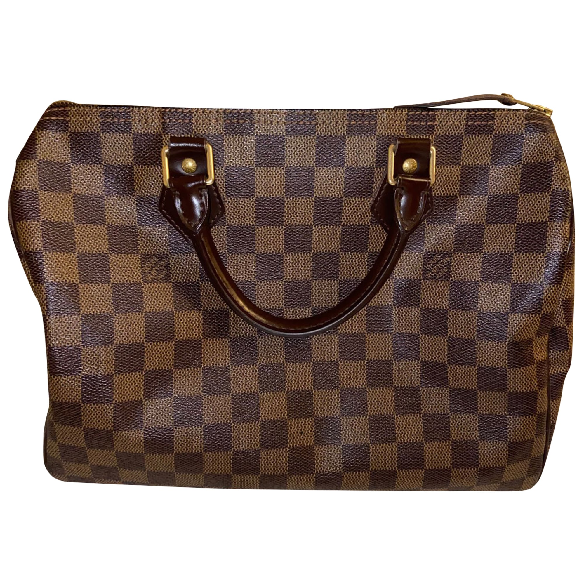 Sac à main en cuir LOUIS VUITTON Speedy Marron