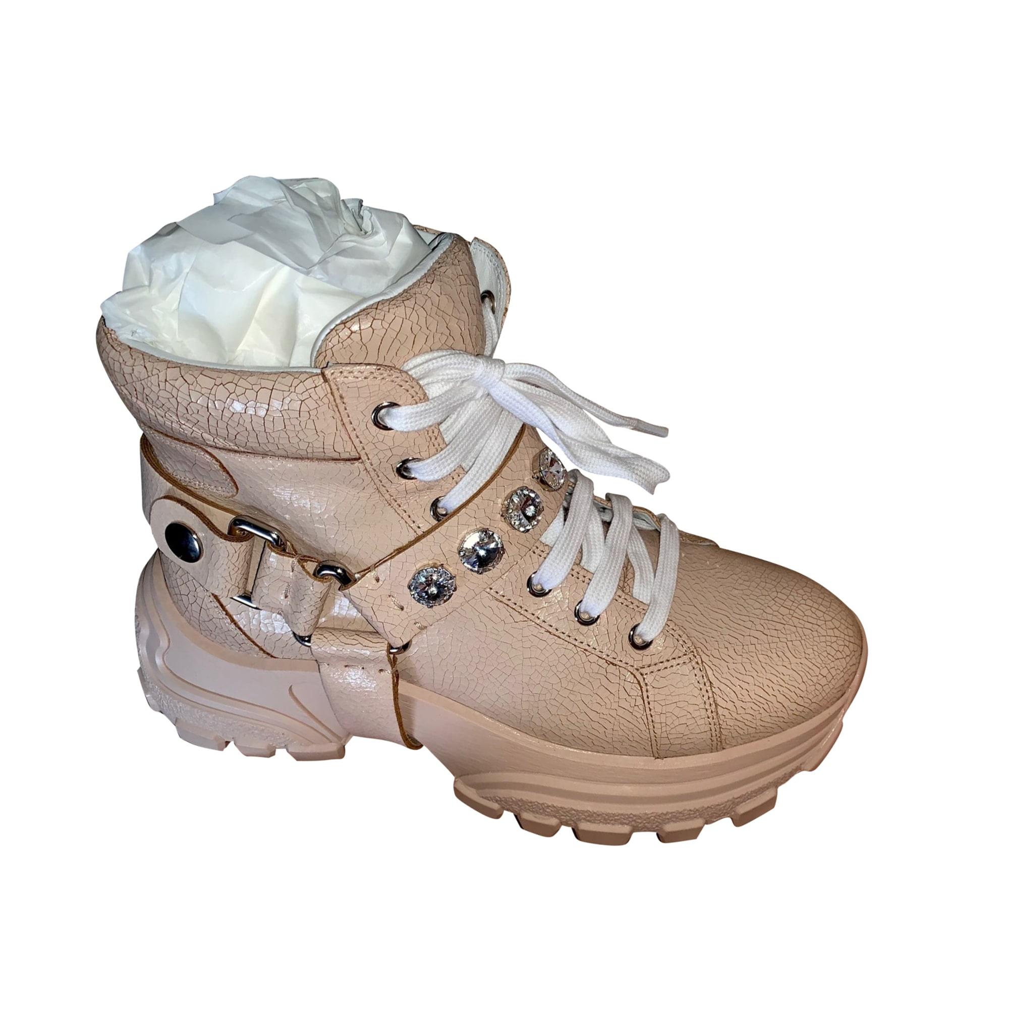 Bottines & low boots plates MIU MIU Rose, fuschia, vieux rose