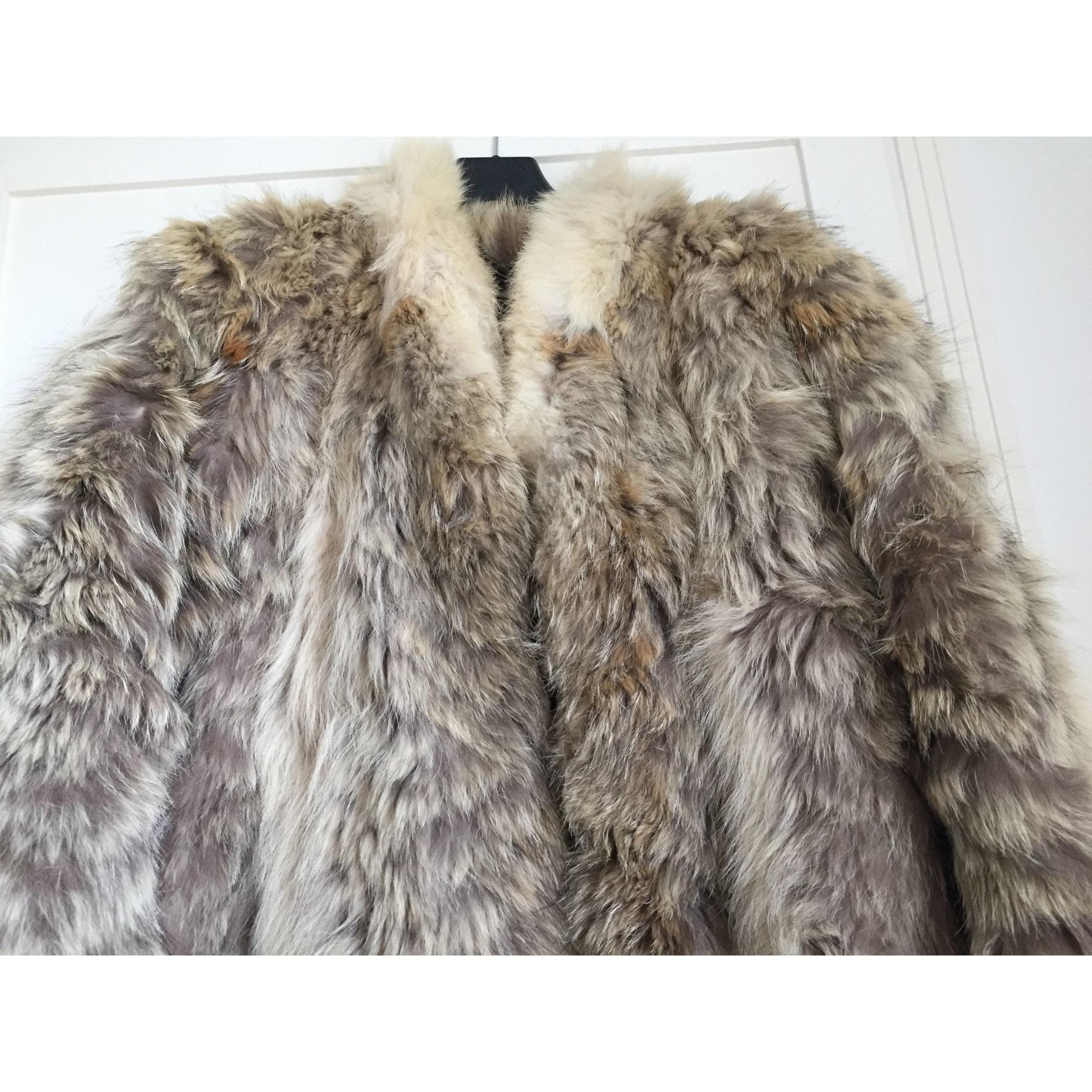 Manteau en fourrure CLAUDE GILBERT Argenté, acier