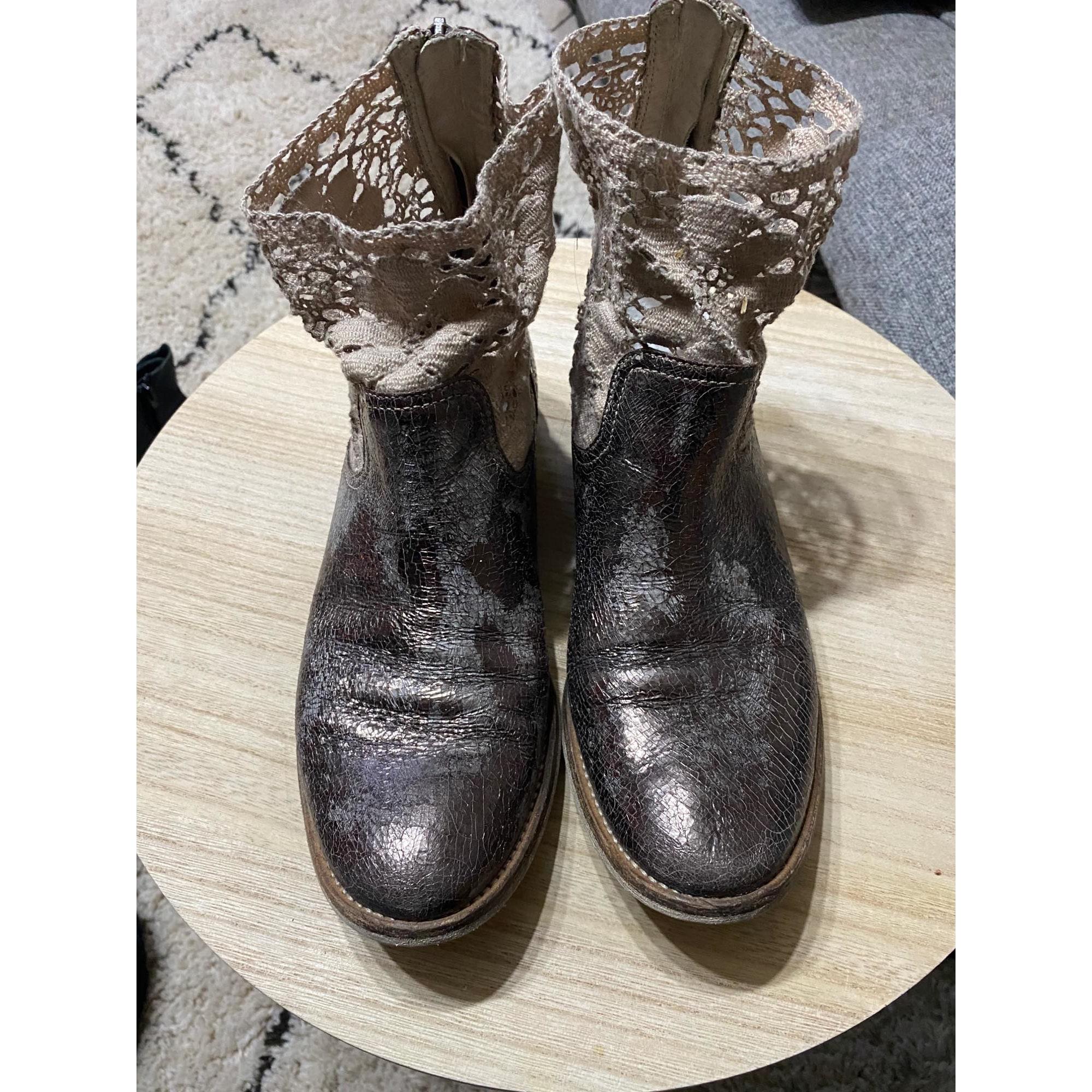 Bottines & low boots plates PEPEROSA Doré, bronze, cuivre