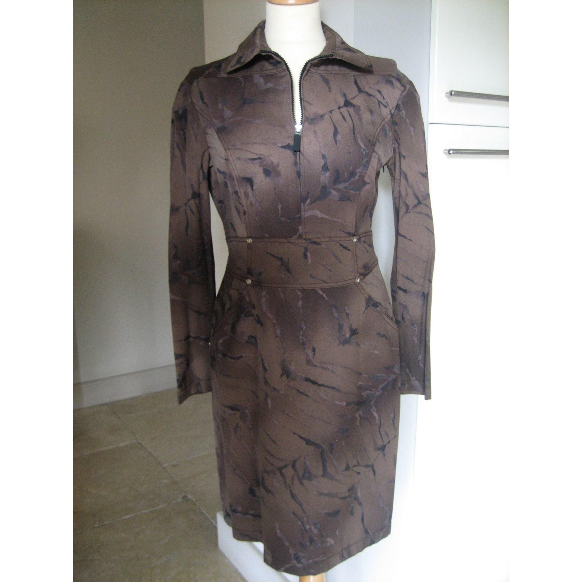 Robe courte CLAUDE MONTANA Marron