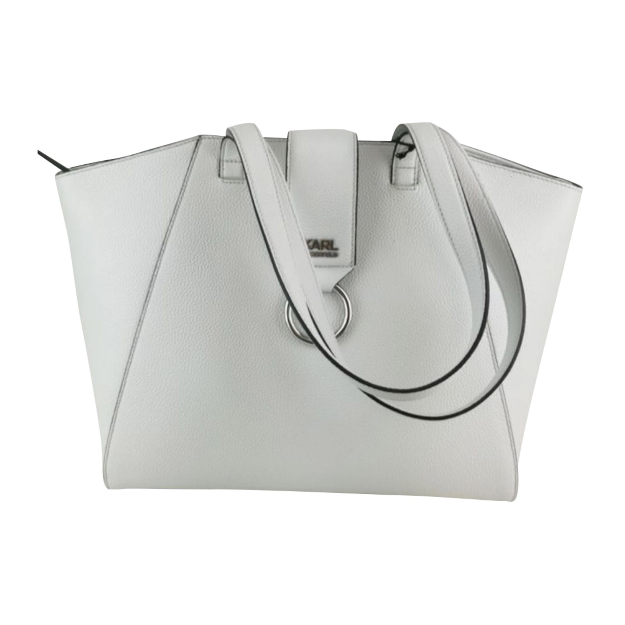 Lederhandtasche KARL LAGERFELD Weiß, elfenbeinfarben