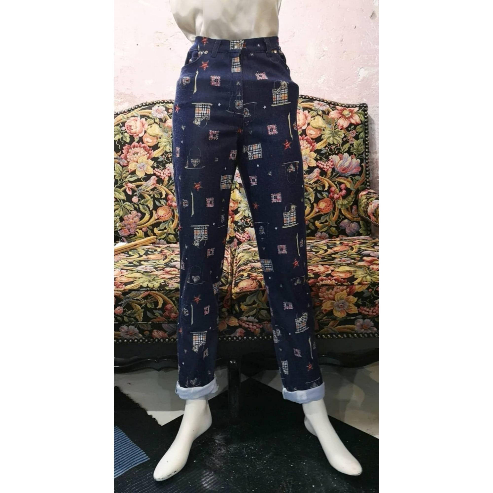 Pantalon slim, cigarette COTTONADE Bleu, bleu marine, bleu turquoise