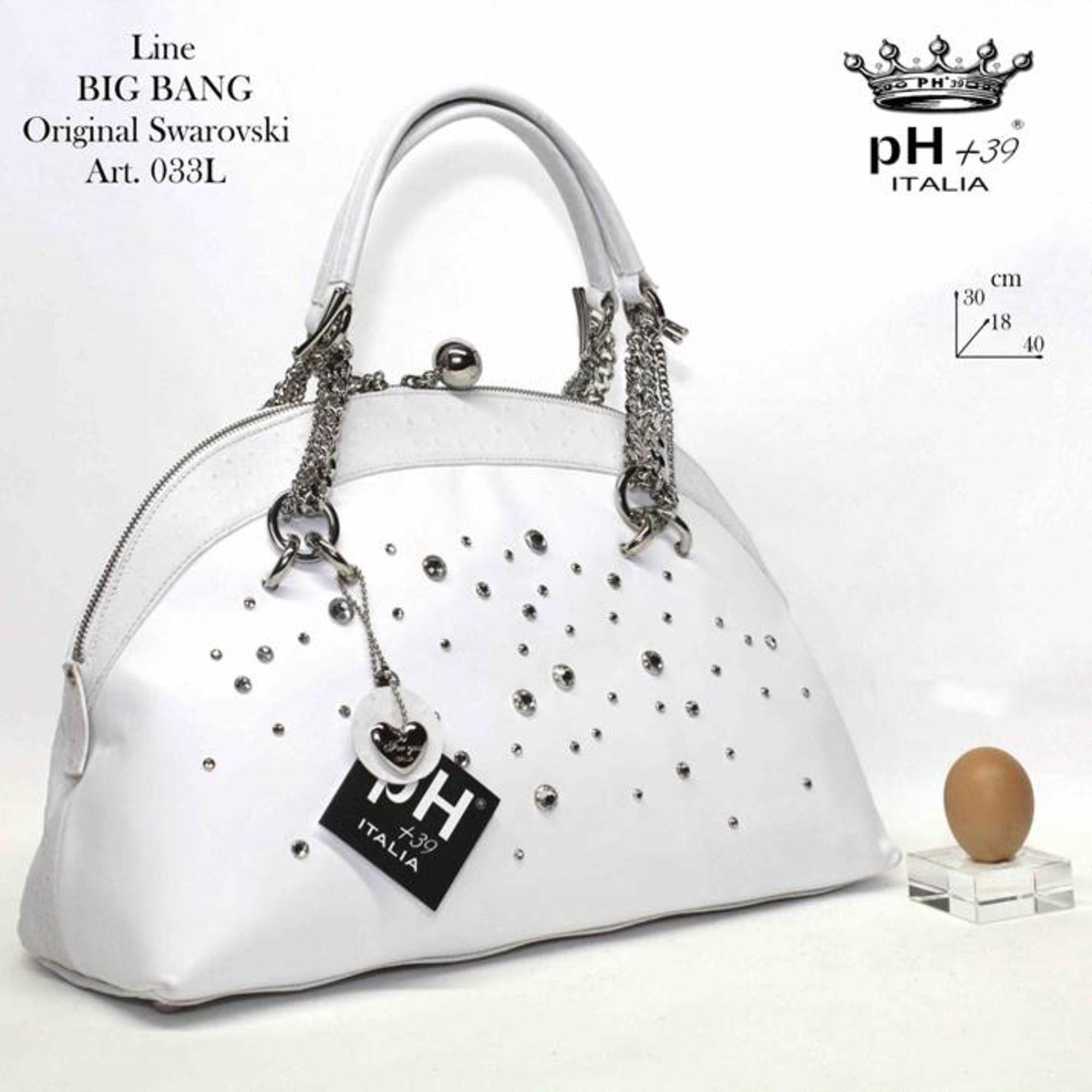 Sac à main en cuir PH+39 ITALIA BAG Blanc, blanc cassé, écru