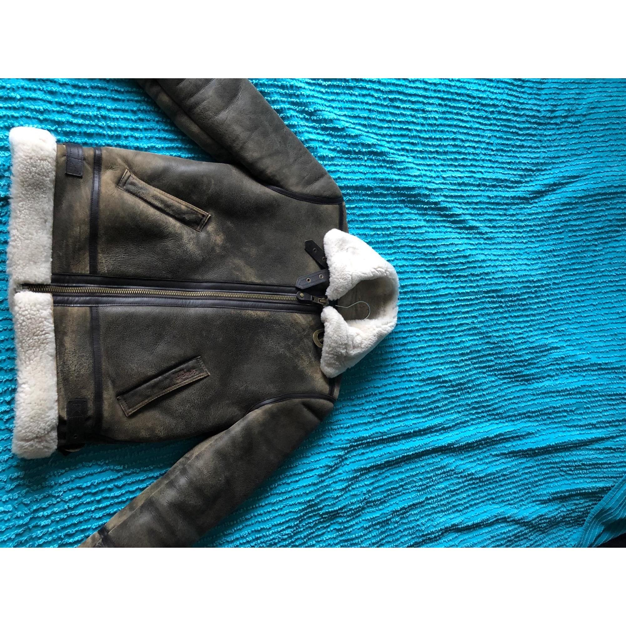 Manteau en cuir SCHOTT Beige, camel