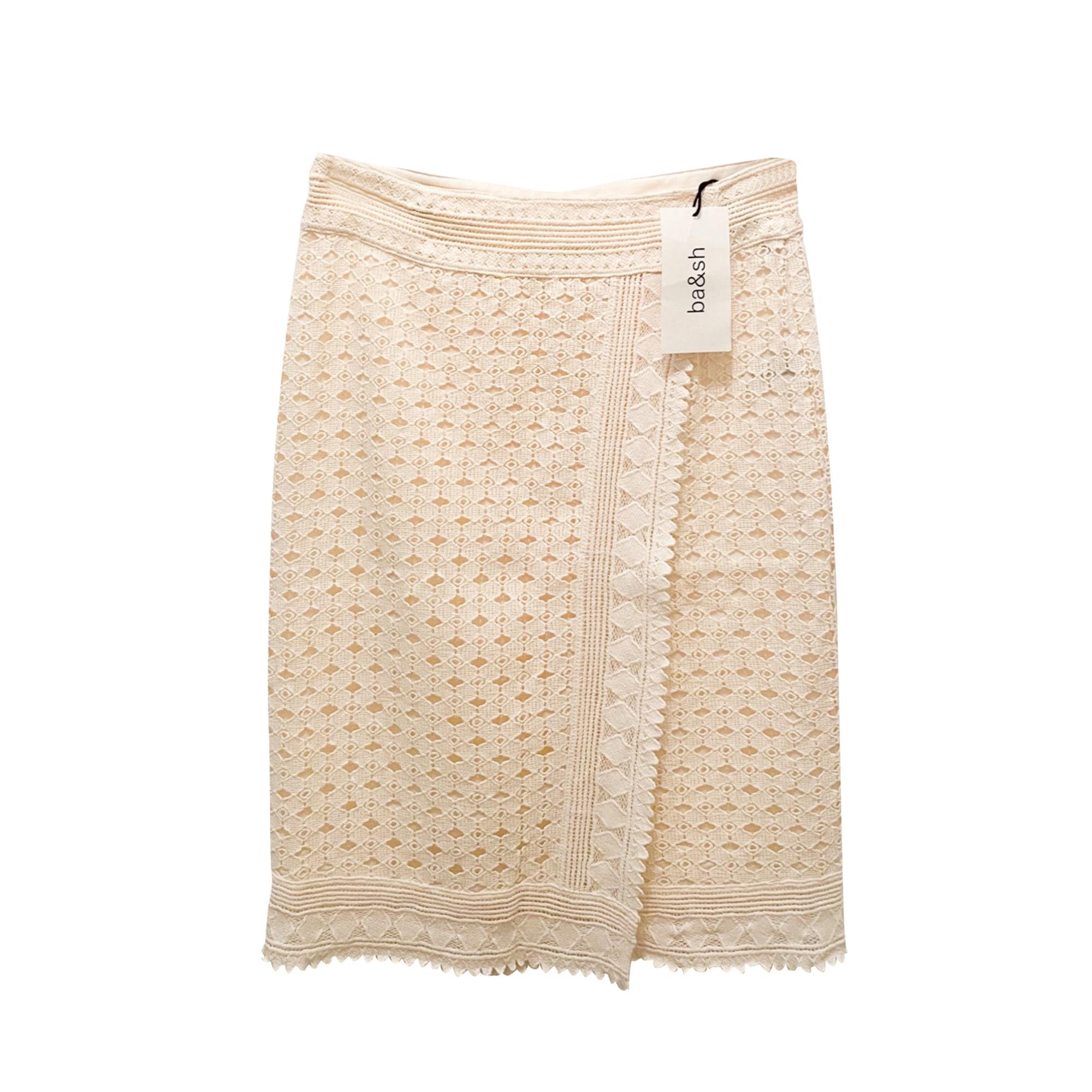 Jupe mi-longue BA&SH Blanc, blanc cassé, écru
