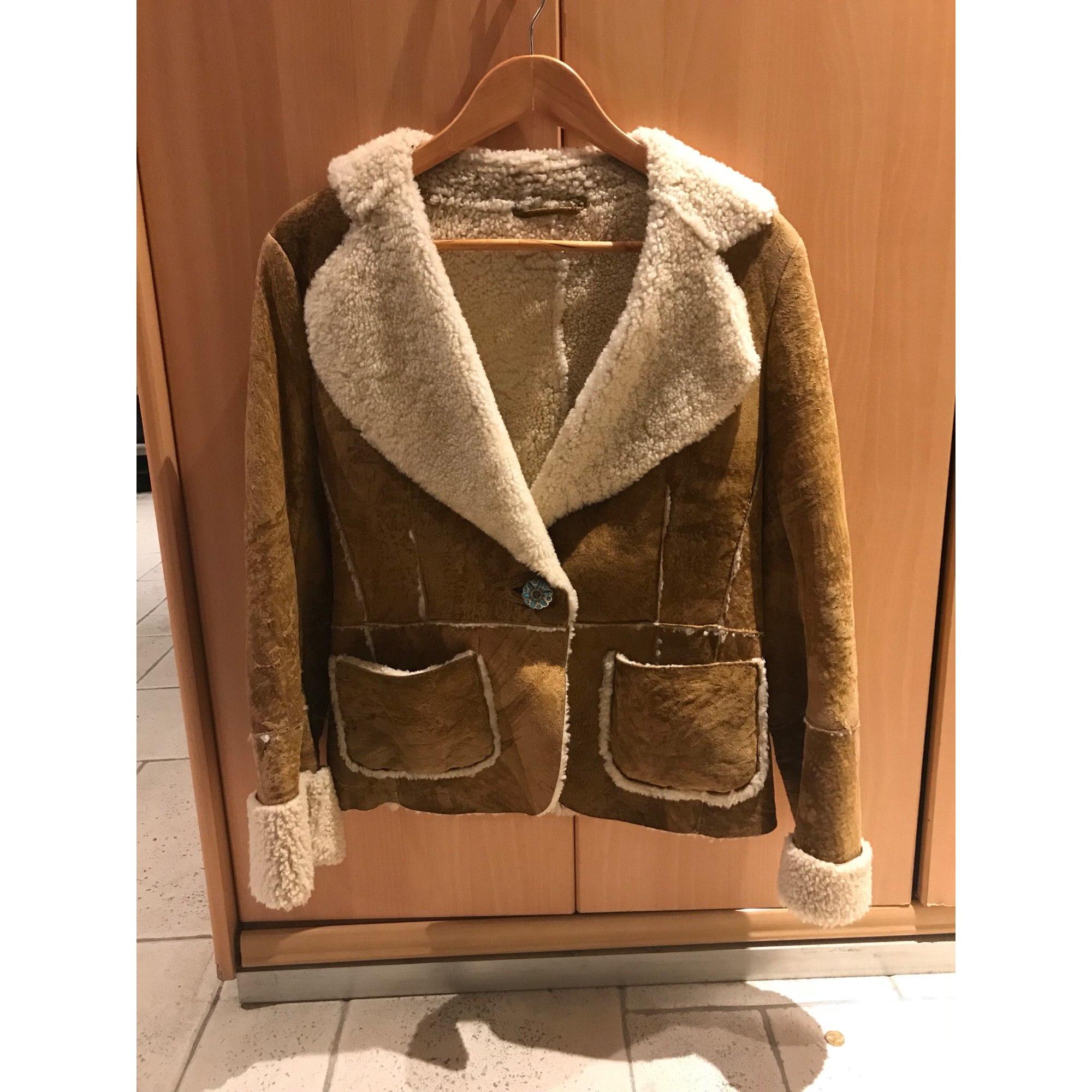 Manteau en cuir MARLBORO CLASSICS Beige, camel